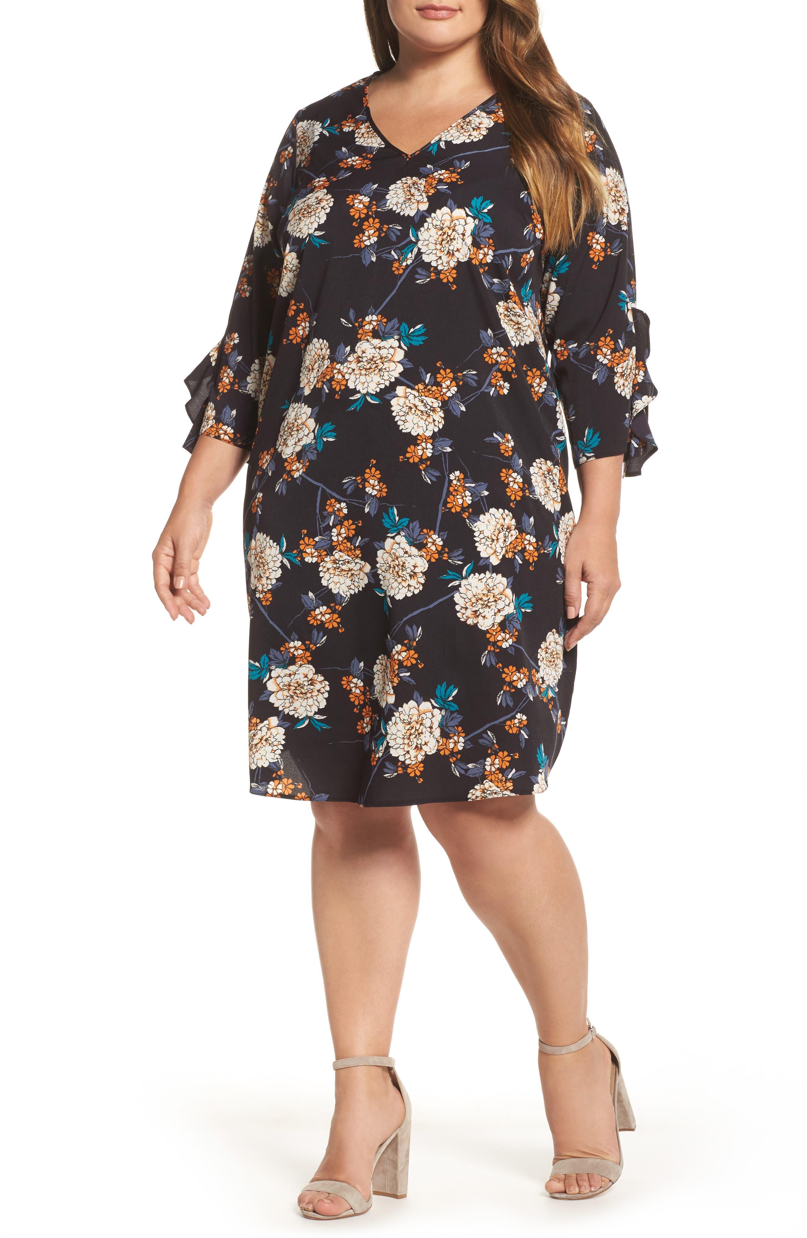 Floral Print Ruffle Sleeve Shift Dress,                         Main,                         color, 400