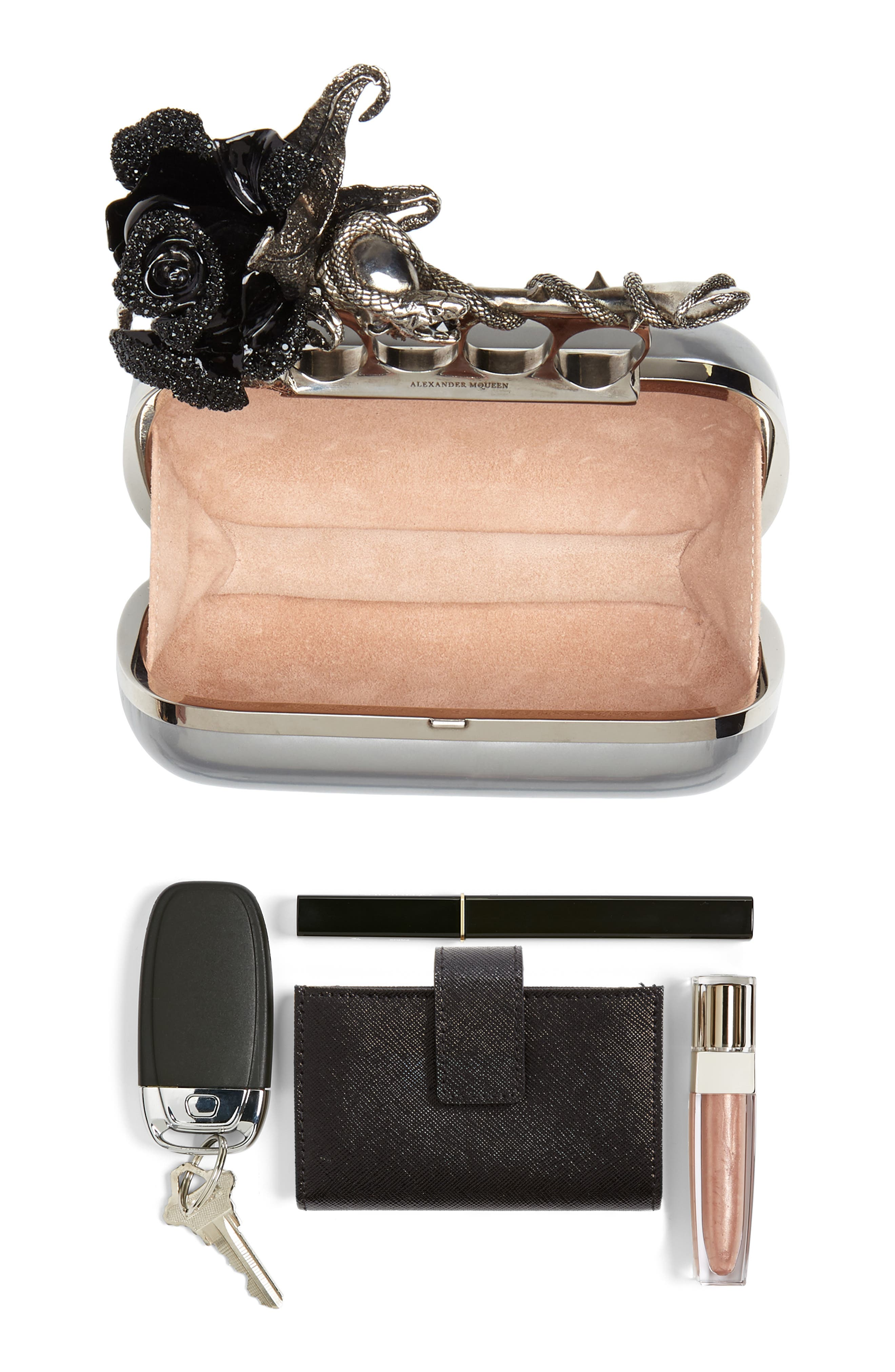 Knuckle Clasp Metallic Leather Box Clutch,                             Alternate thumbnail 7, color,