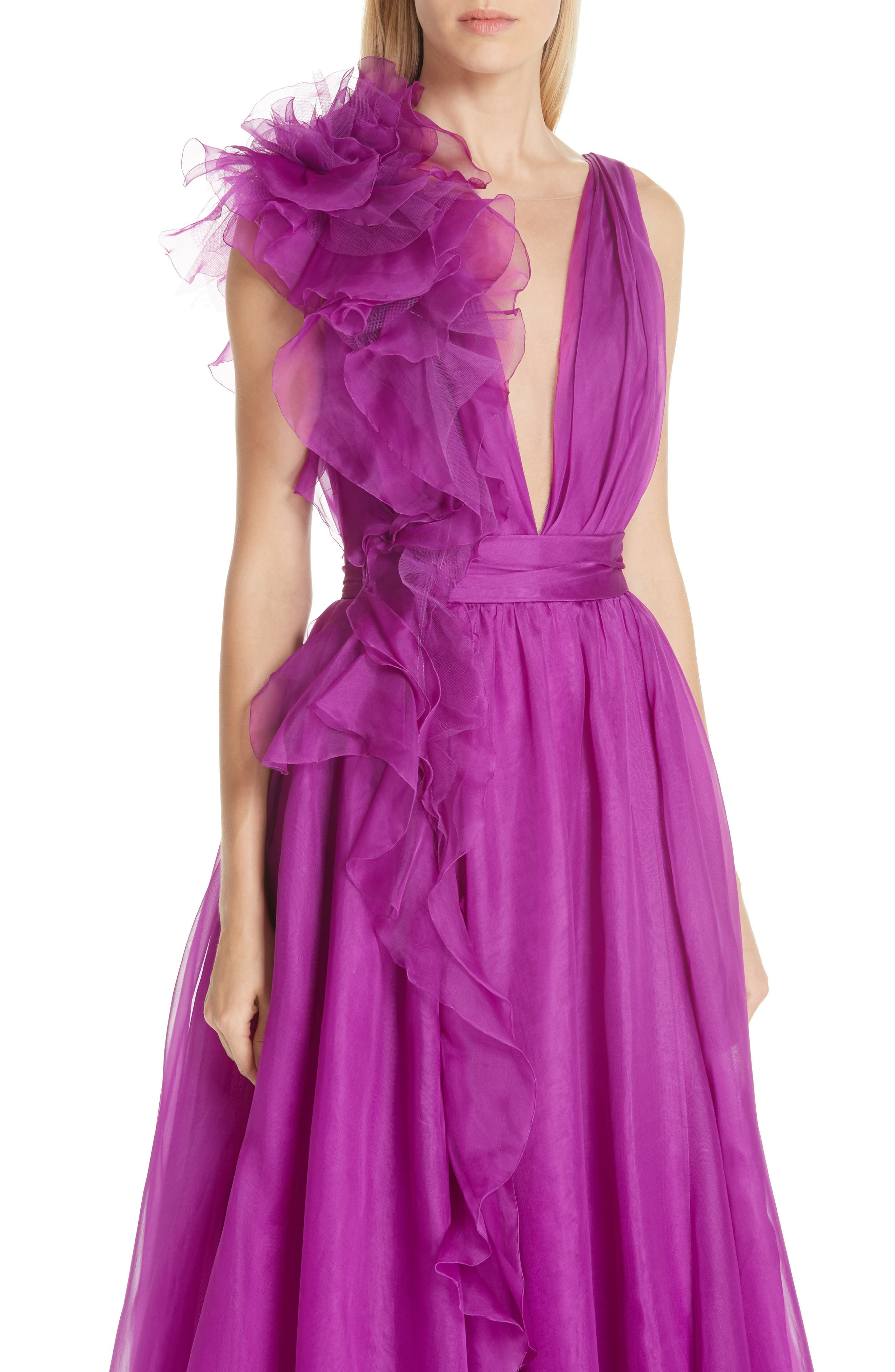 Ruffle Silk Organza Evening Dress,                             Alternate thumbnail 4, color,                             ORCHID