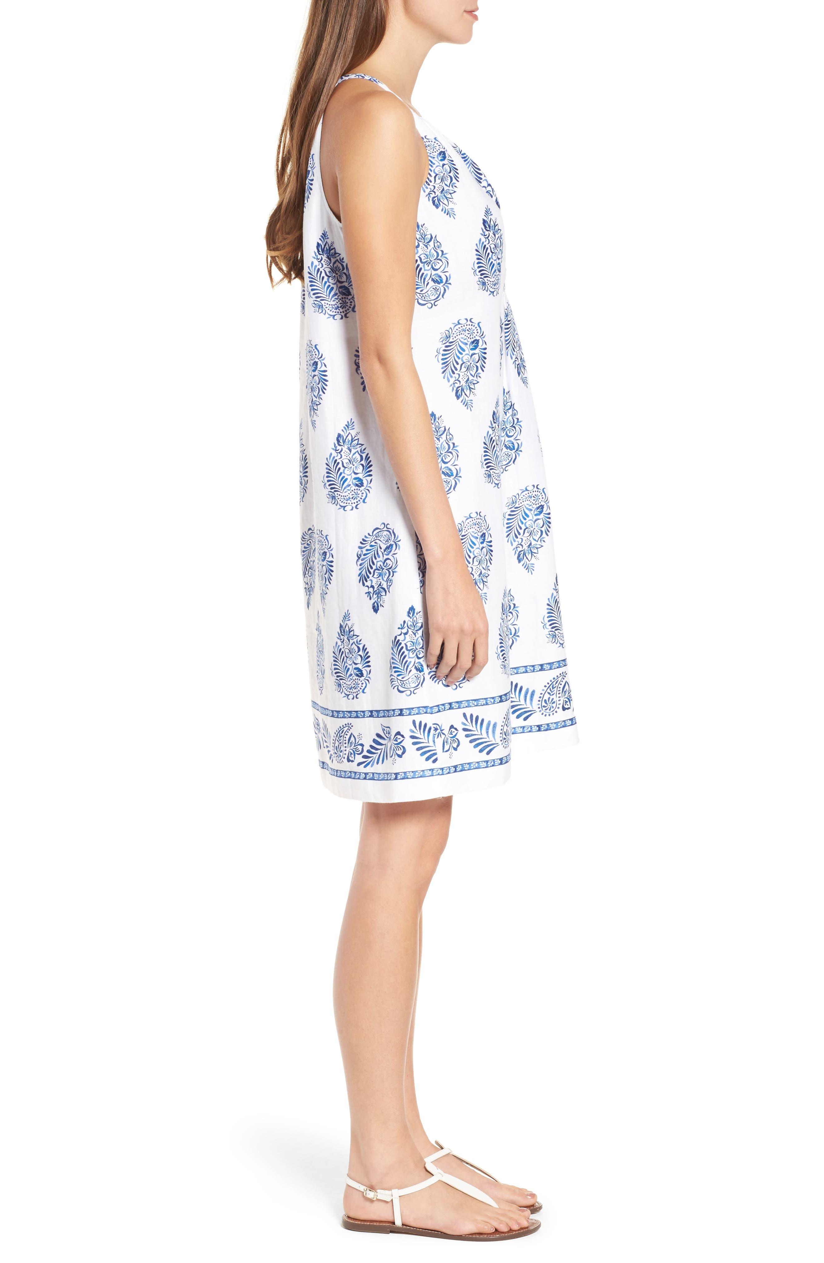 Paleys Paisley Sleeveless Shift Dress,                             Alternate thumbnail 3, color,                             401