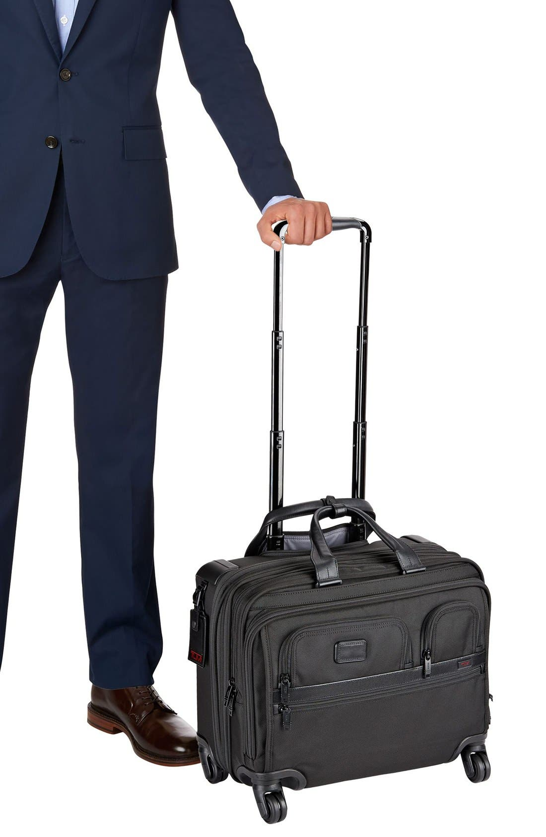 Alpha 2 Deluxe Wheeled Briefcase,                             Alternate thumbnail 4, color,                             BLACK