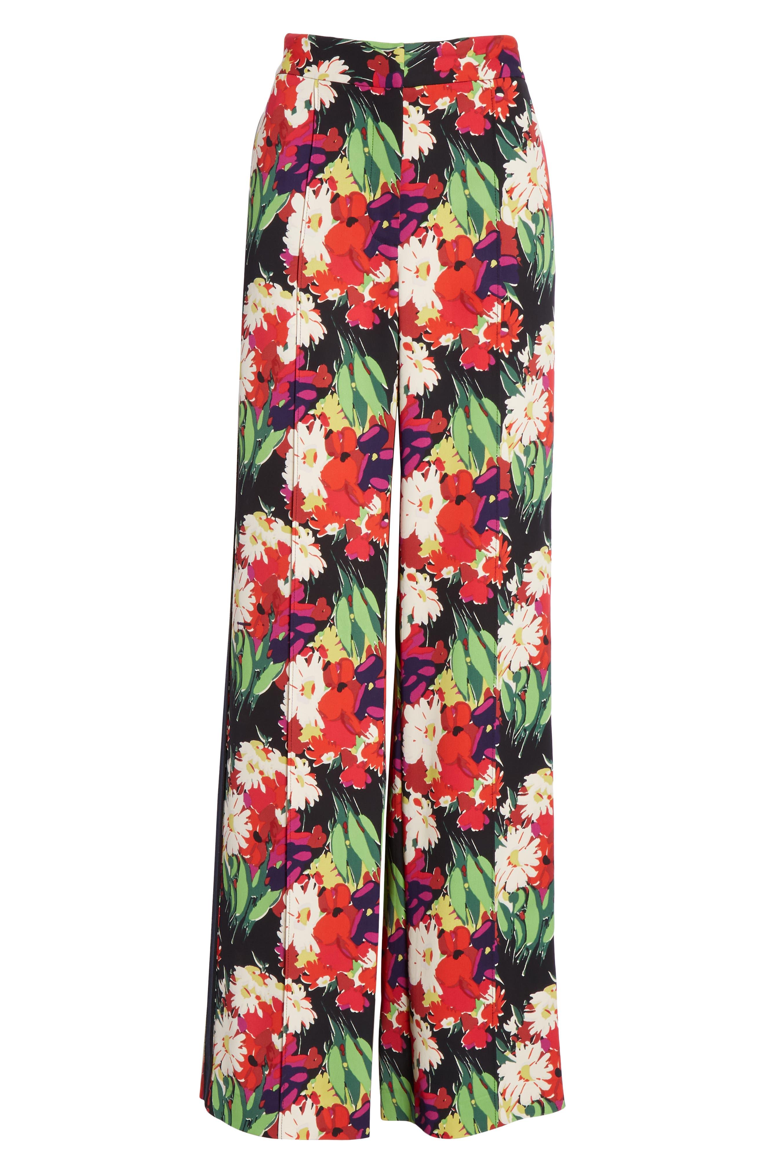 VERONICA BEARD,                             Grigore Floral Print Wide Leg Pants,                             Alternate thumbnail 6, color,                             BLACK MULTI