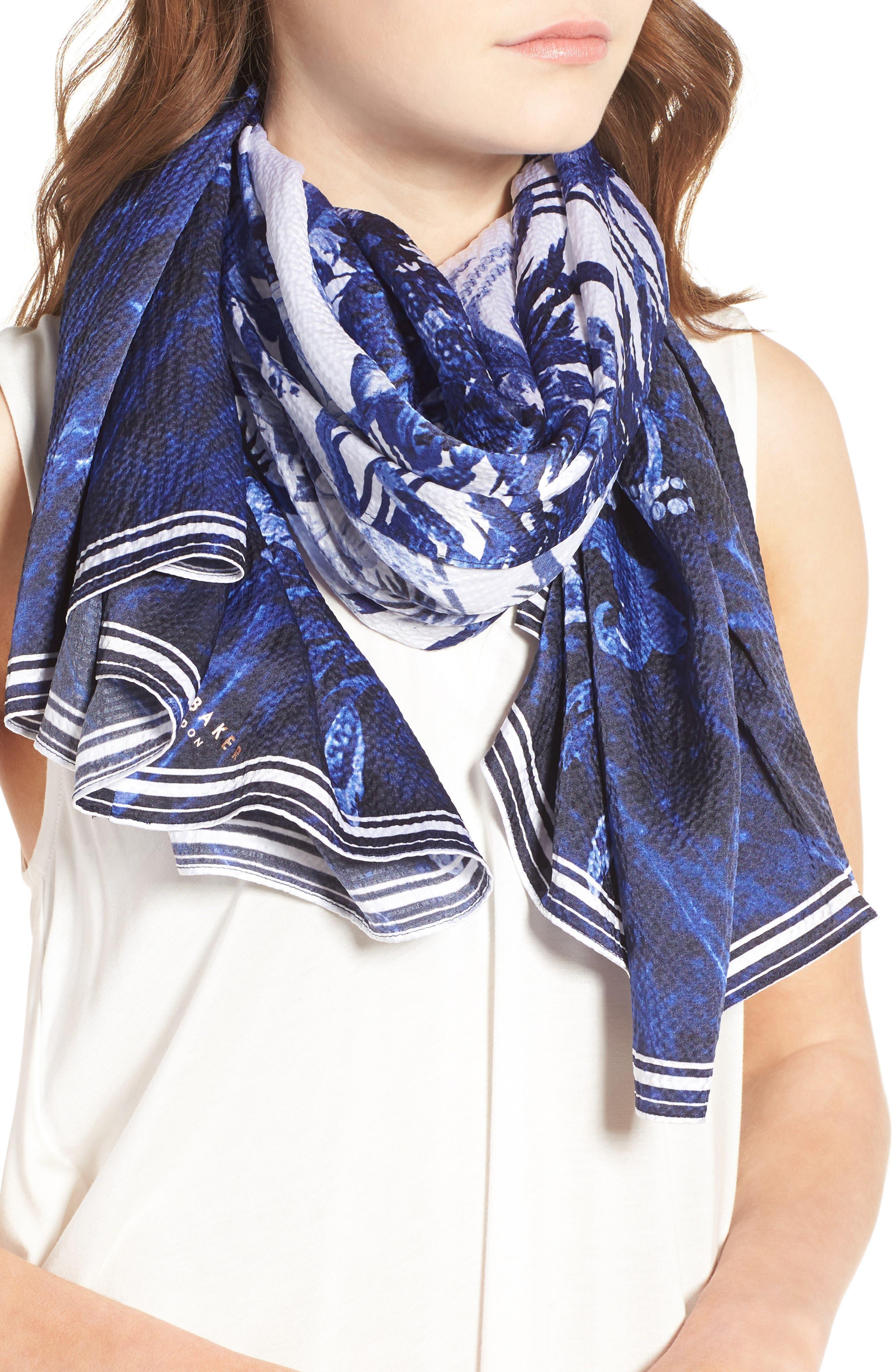 Persian Blue Silk Cape Scarf,                             Alternate thumbnail 4, color,                             410