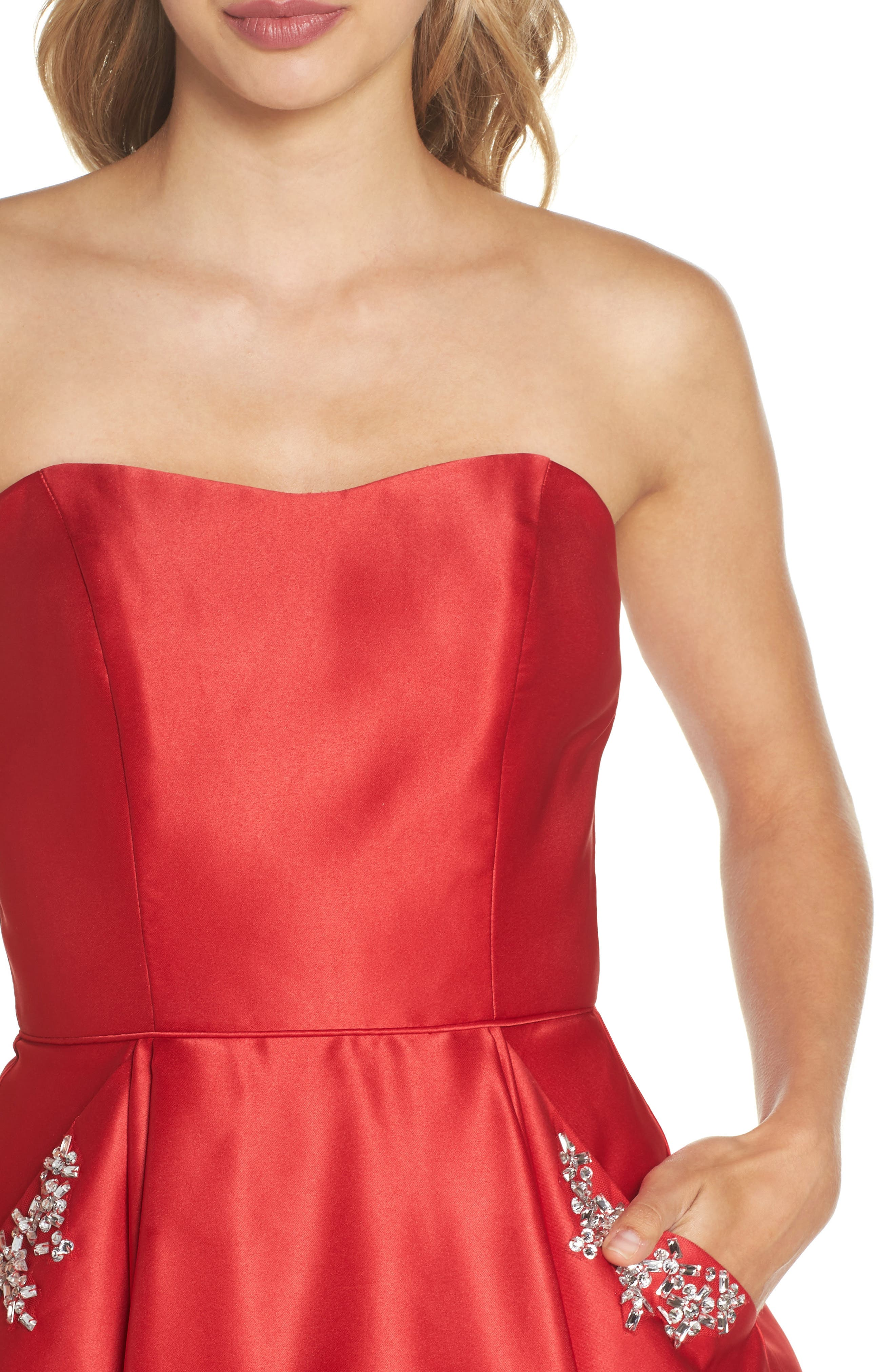 Strapless Satin Fit & Flare Party Dress,                             Alternate thumbnail 4, color,                             RED