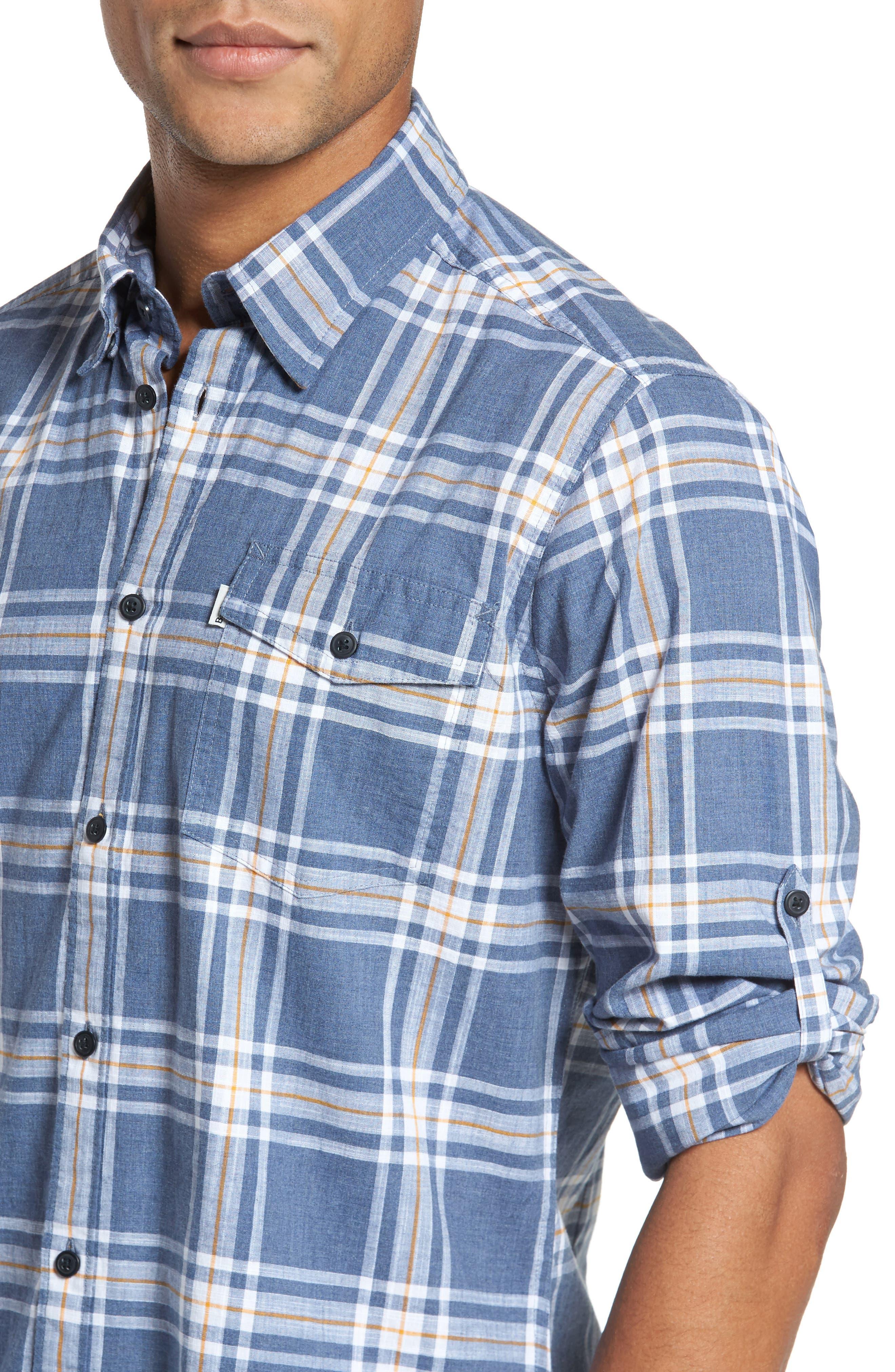 Elver Tailored Fit Plaid Sport Shirt,                             Alternate thumbnail 4, color,                             410