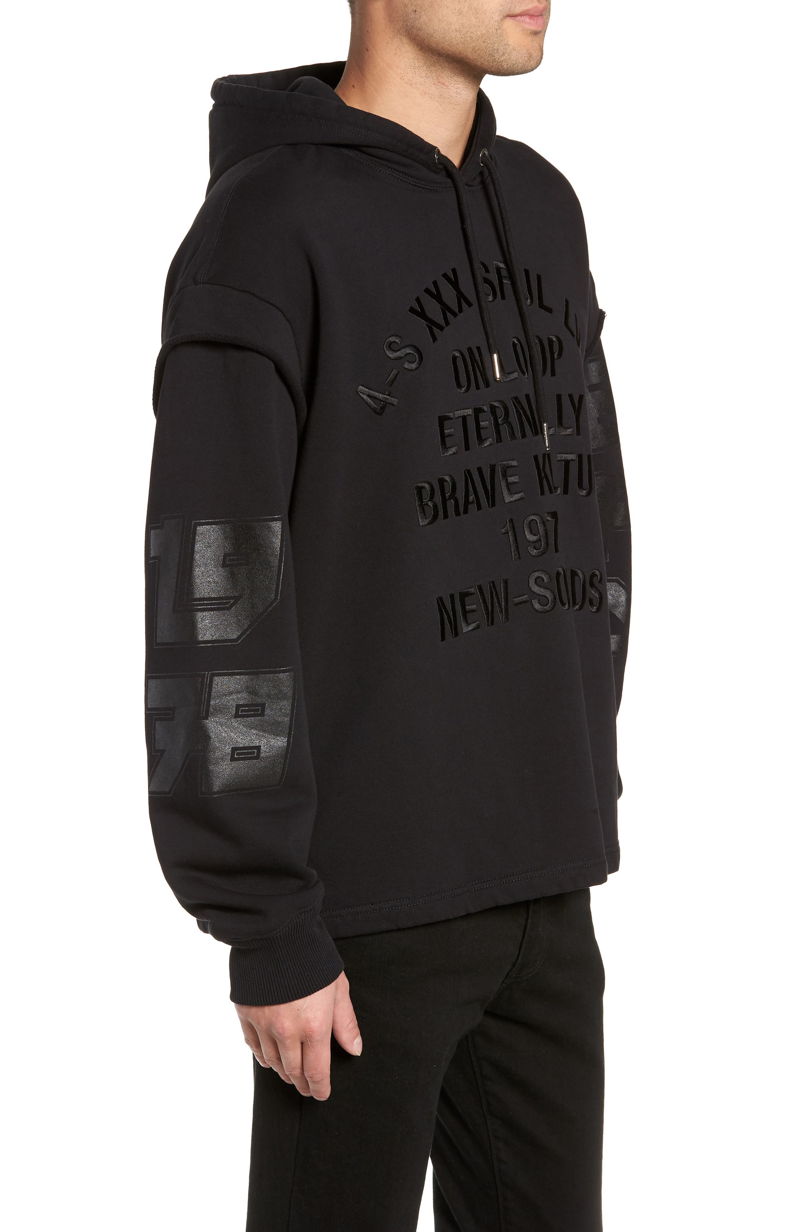 S-DRIVE-LS-XA Embroidered Hooded Sweatshirt,                             Alternate thumbnail 3, color,                             BLACK