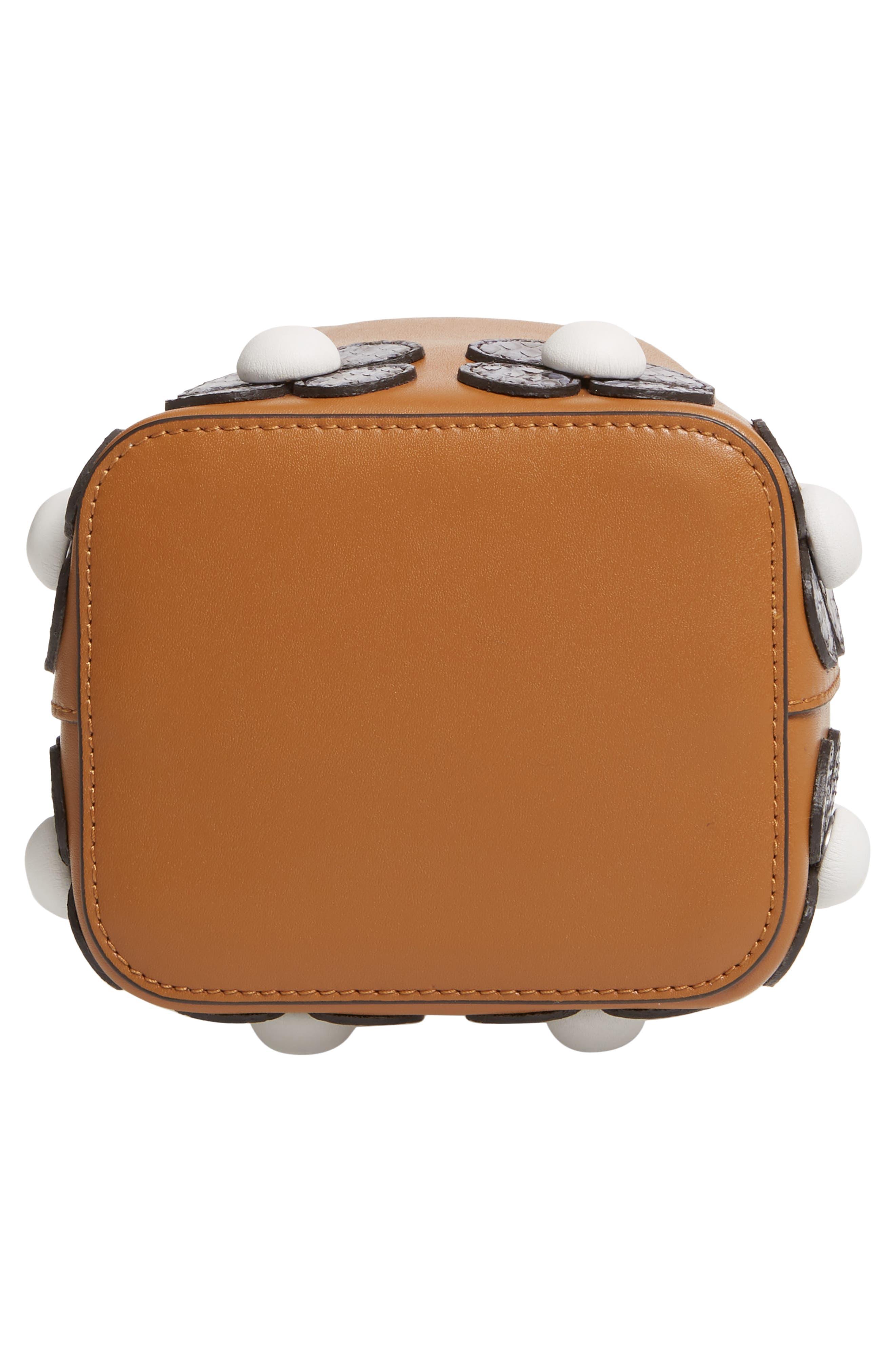 Mon Tresor Embellished Leather Bucket Bag,                             Alternate thumbnail 7, color,                             CARAMEL