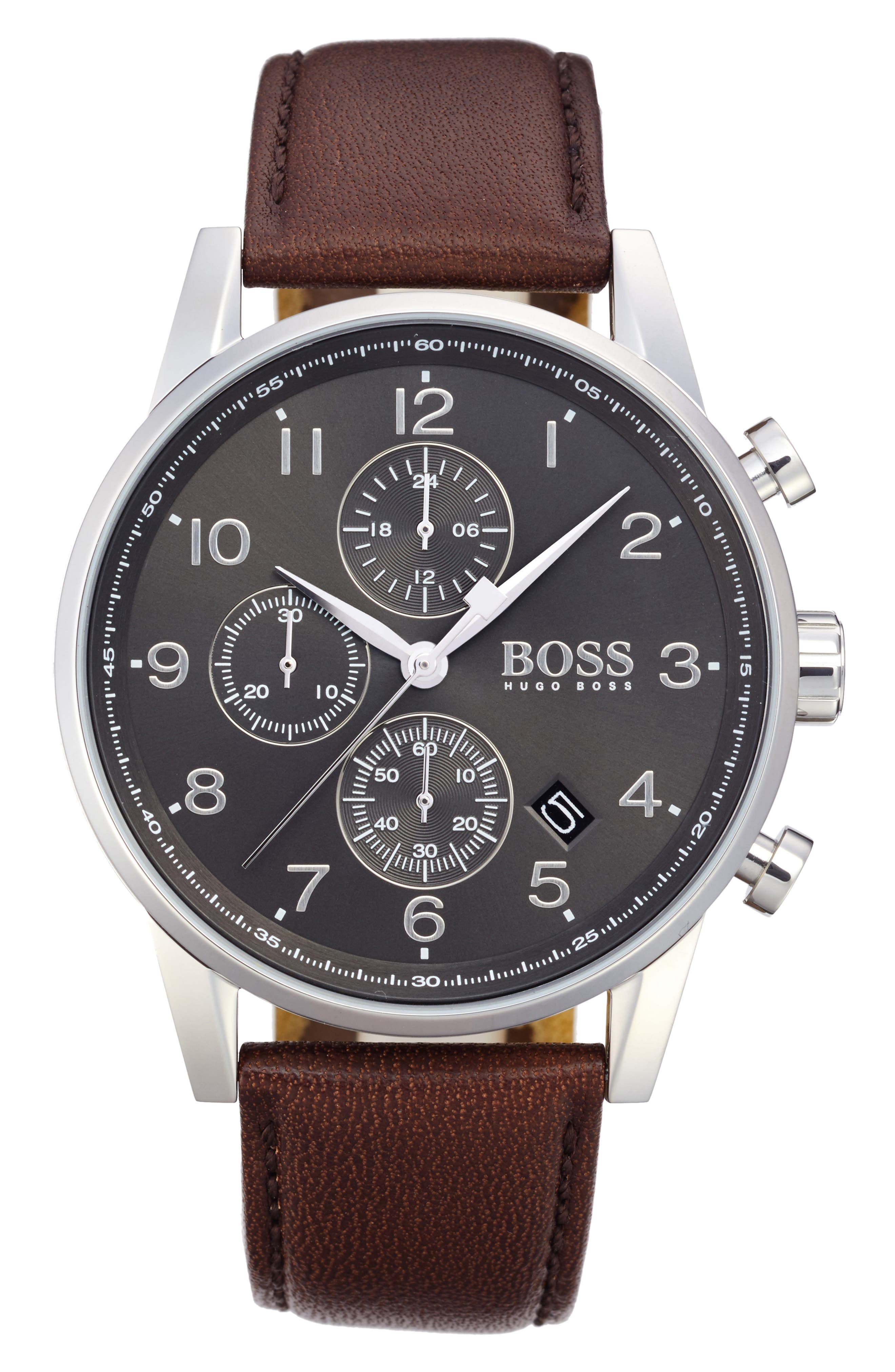 Navigator Chronograph Leather Strap Watch, 44mm,                             Main thumbnail 1, color,                             GREY/ BROWN