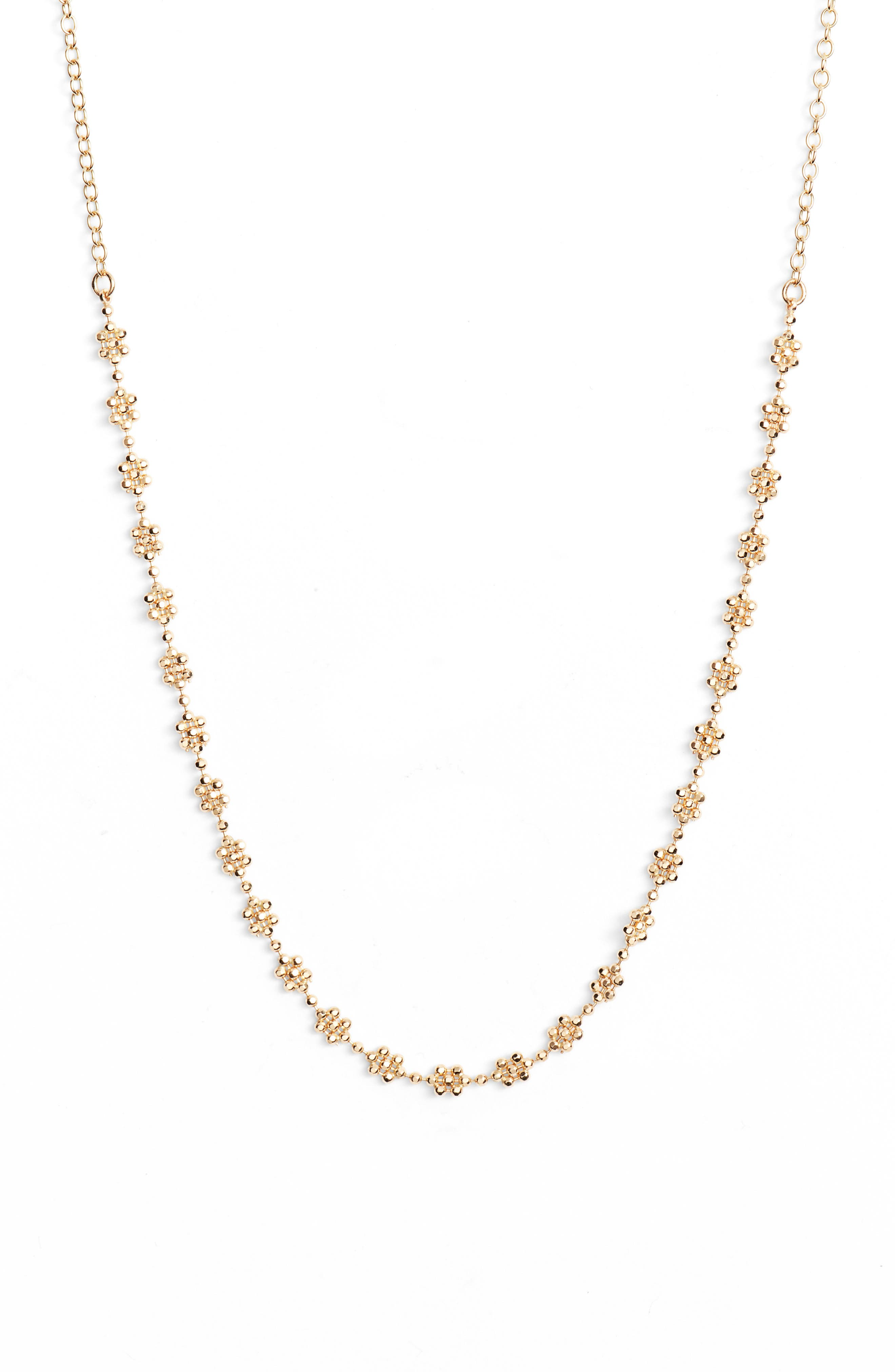 Shimmer Flower Choker Necklace,                         Main,                         color, YELLOW GOLD