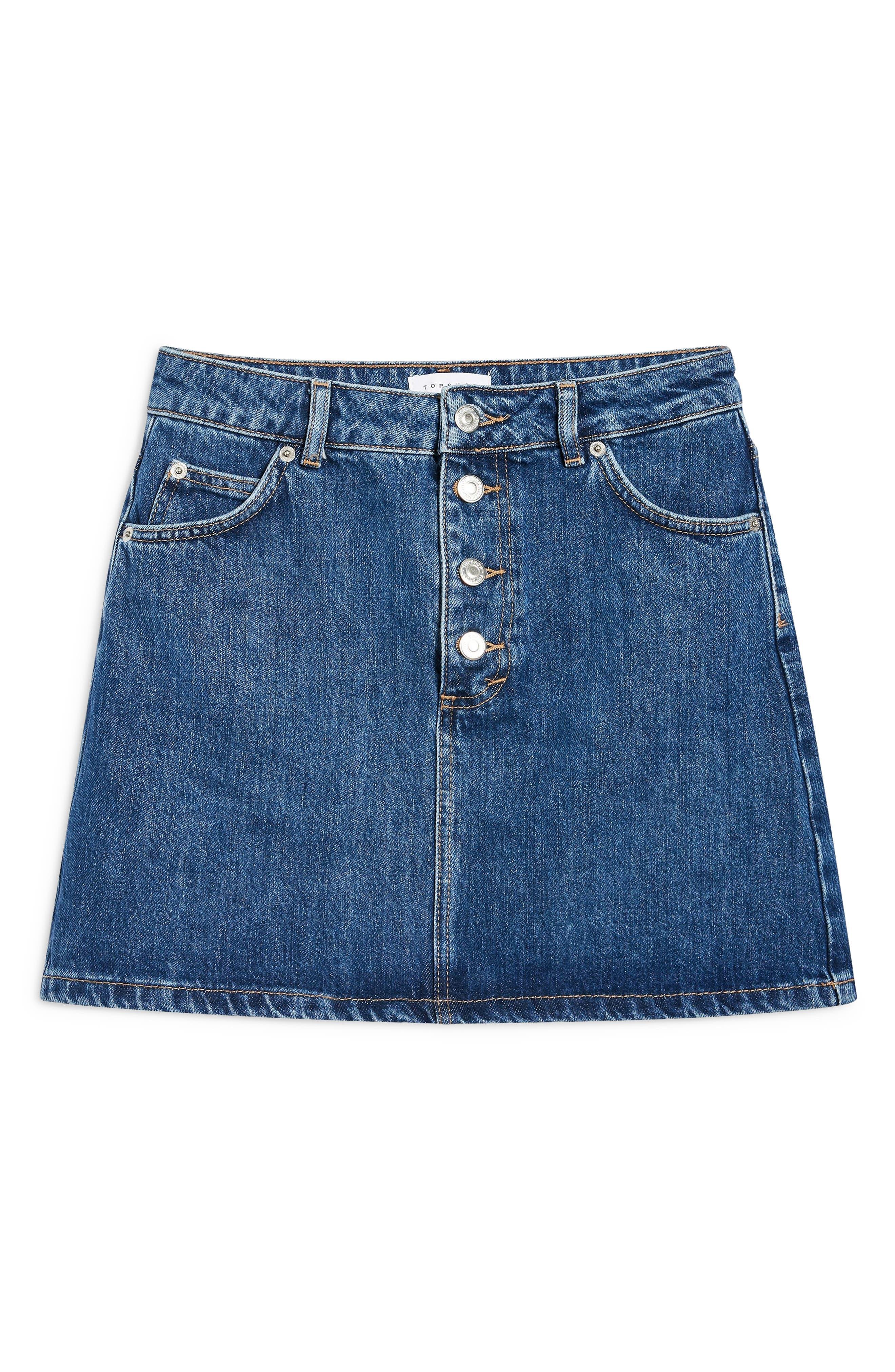 Button Fly Denim Skirt,                             Alternate thumbnail 3, color,                             MID DENIM