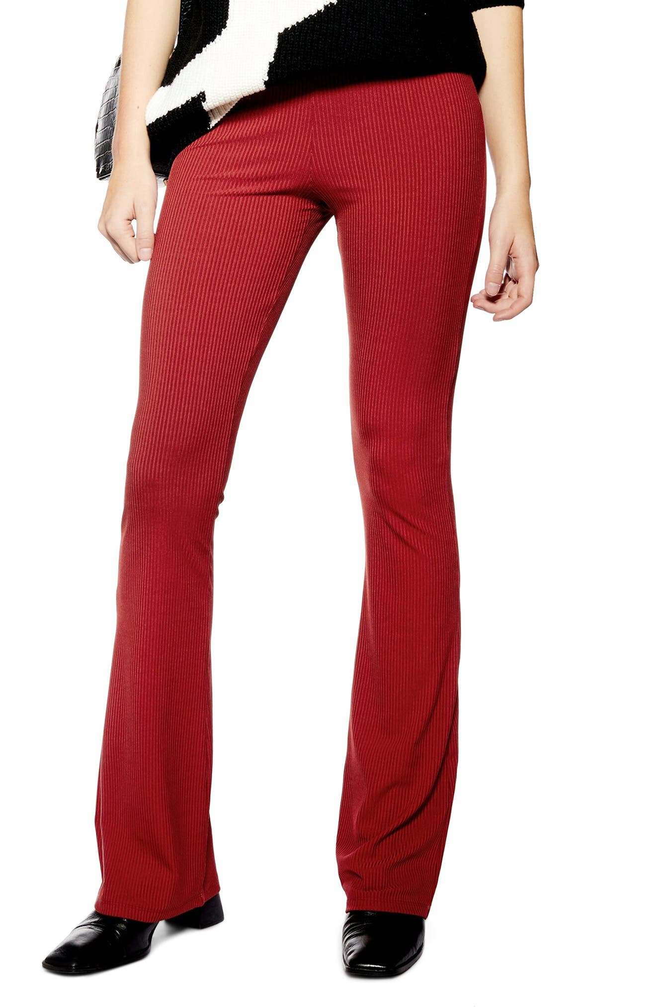 Topshop Skinny Ribbed Flare Pants, US (fits like 0) - Metallic