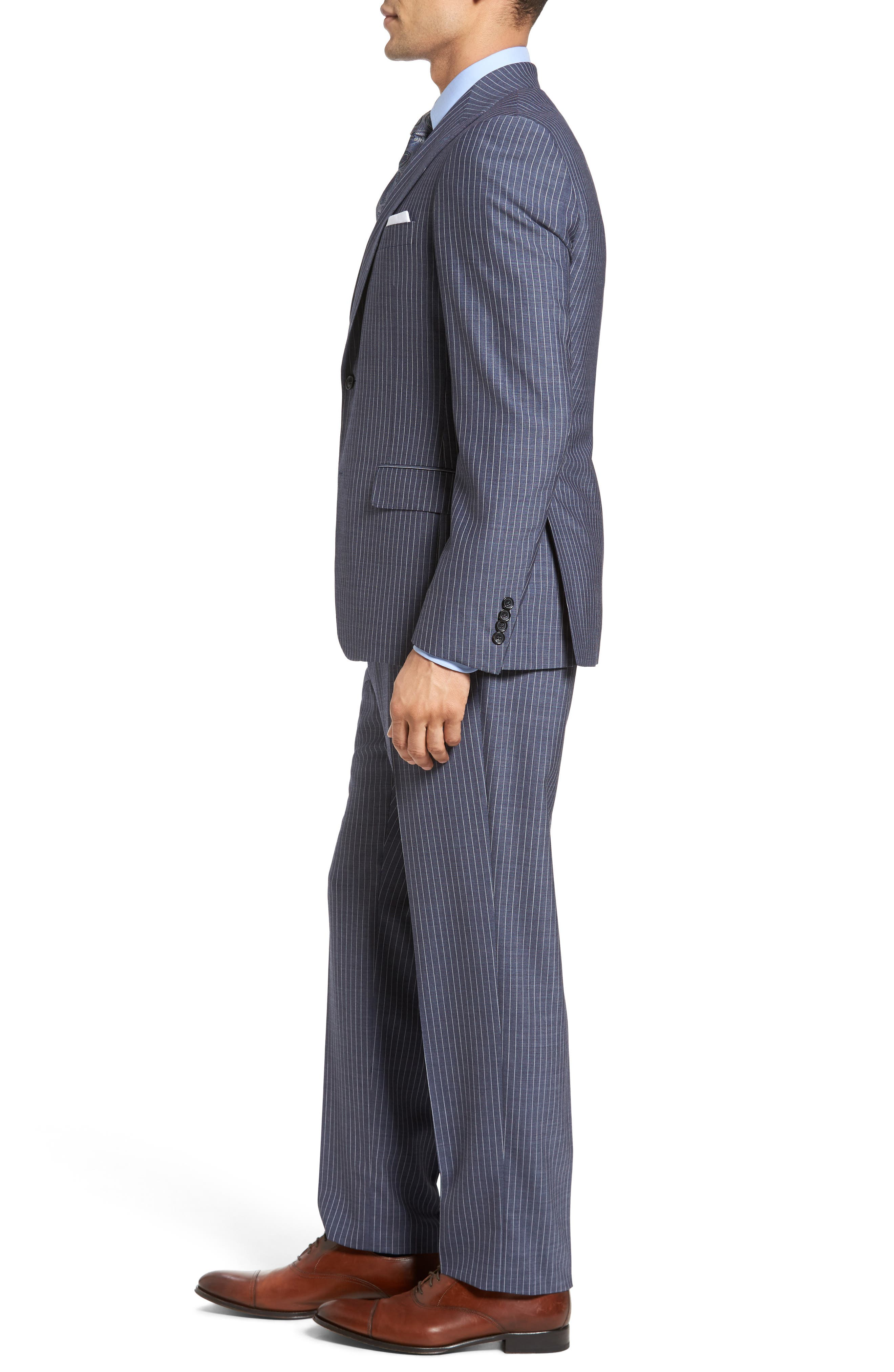 Beckett Classic Fit Stripe Wool Suit,                             Alternate thumbnail 3, color,                             450