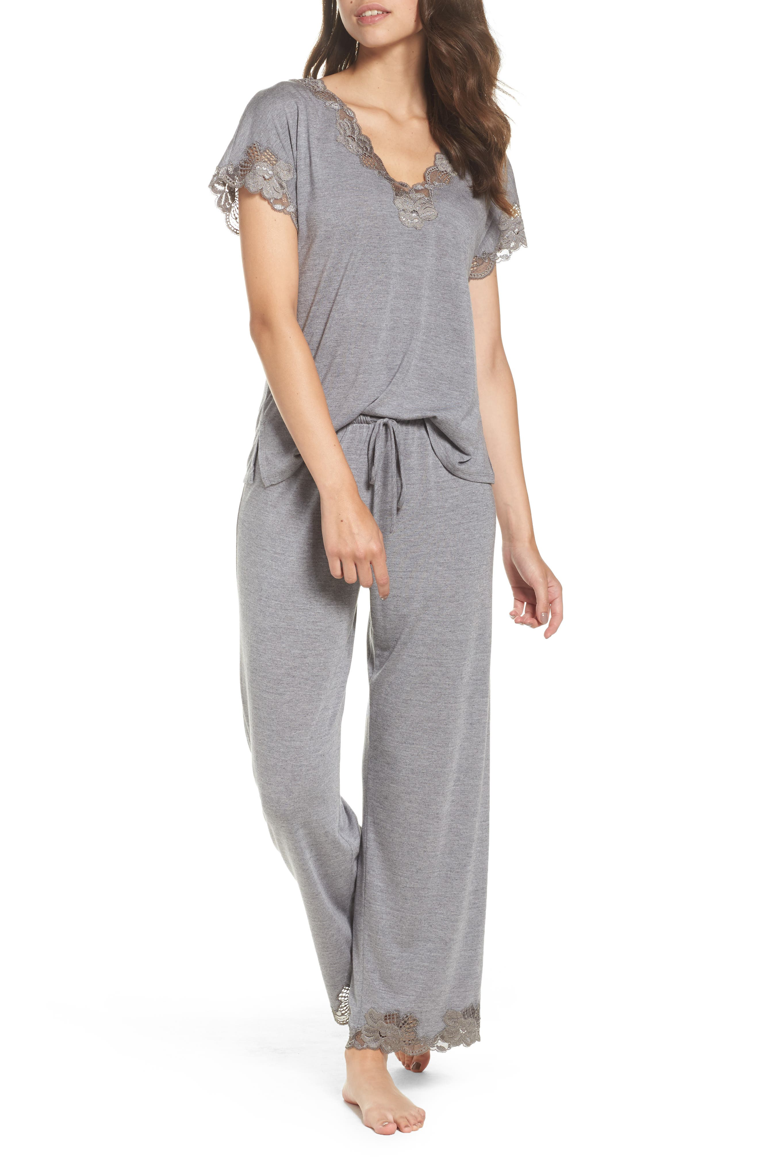 'Zen Floral' Pajama Set,                             Main thumbnail 1, color,                             PASTEL GREY