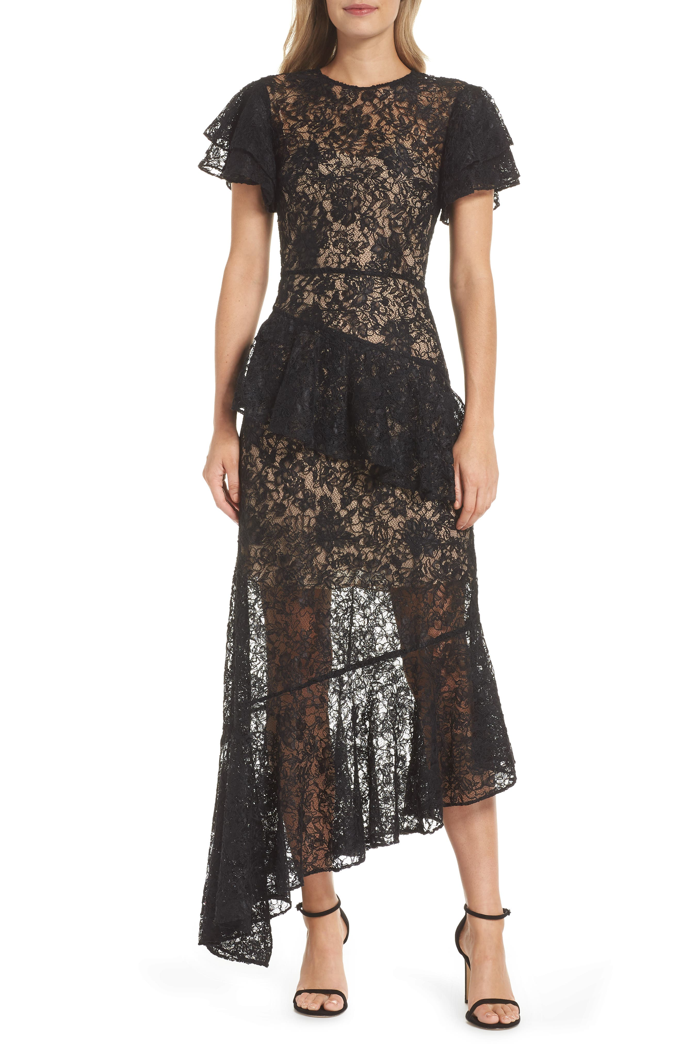 Ml Monique Lhuillier Lace & Ruffle Asymmetric Hem Gown, Black
