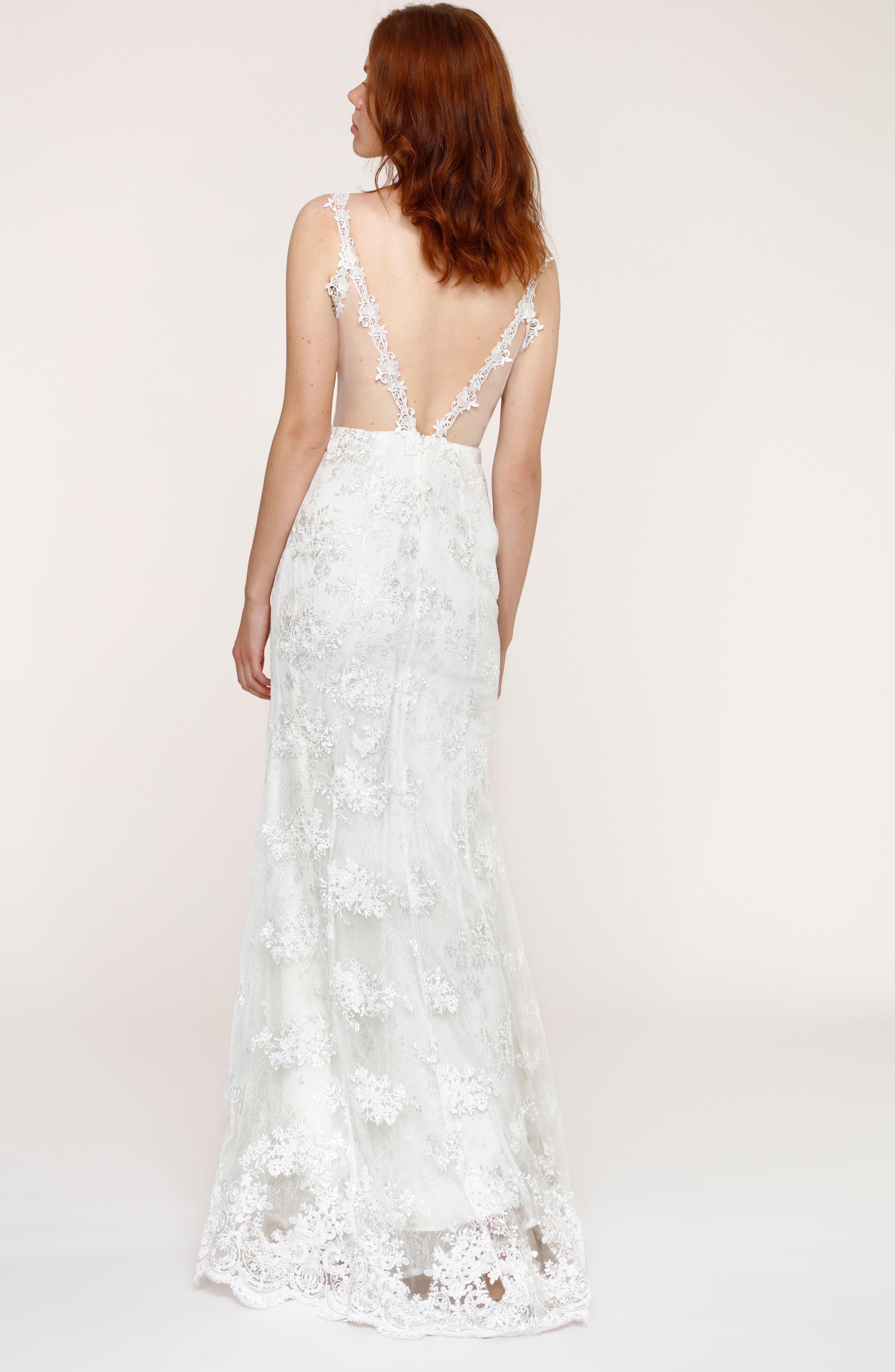 Andie Illusion Side Lace Mermaid Gown,                             Alternate thumbnail 2, color,                             900
