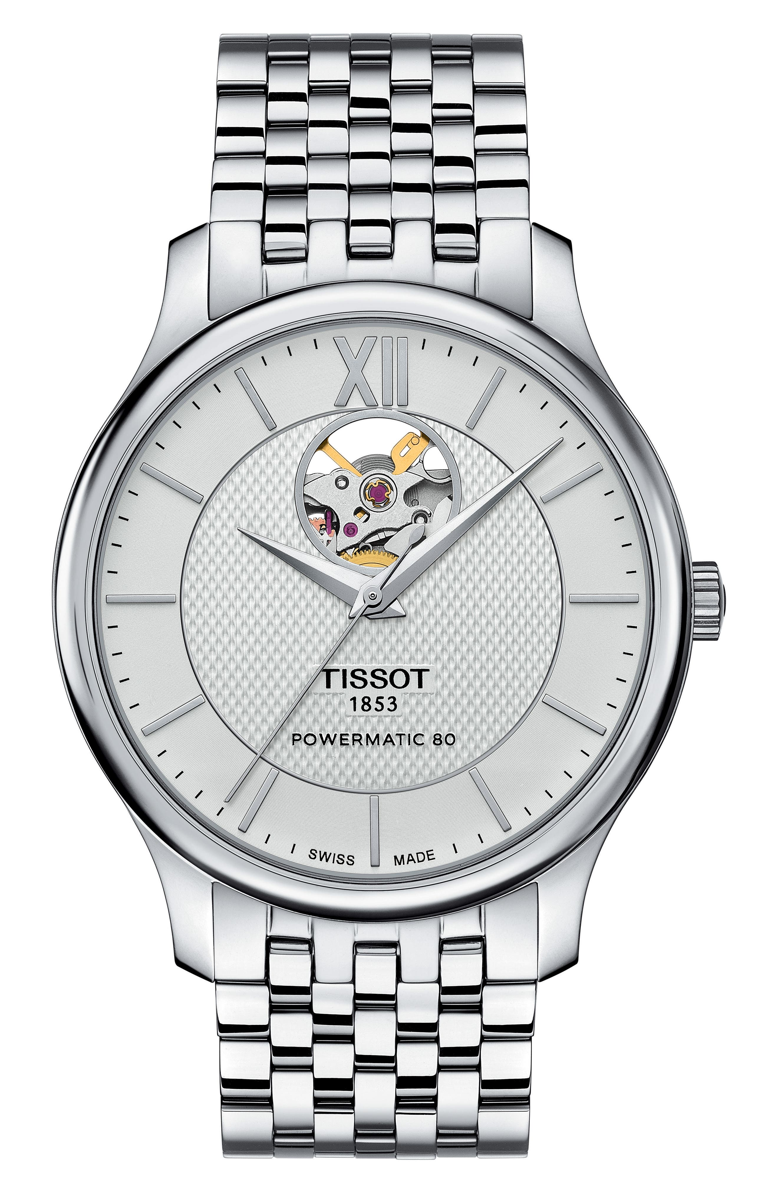 Tradition Bracelet Watch, 40mm,                         Main,                         color, SILVER