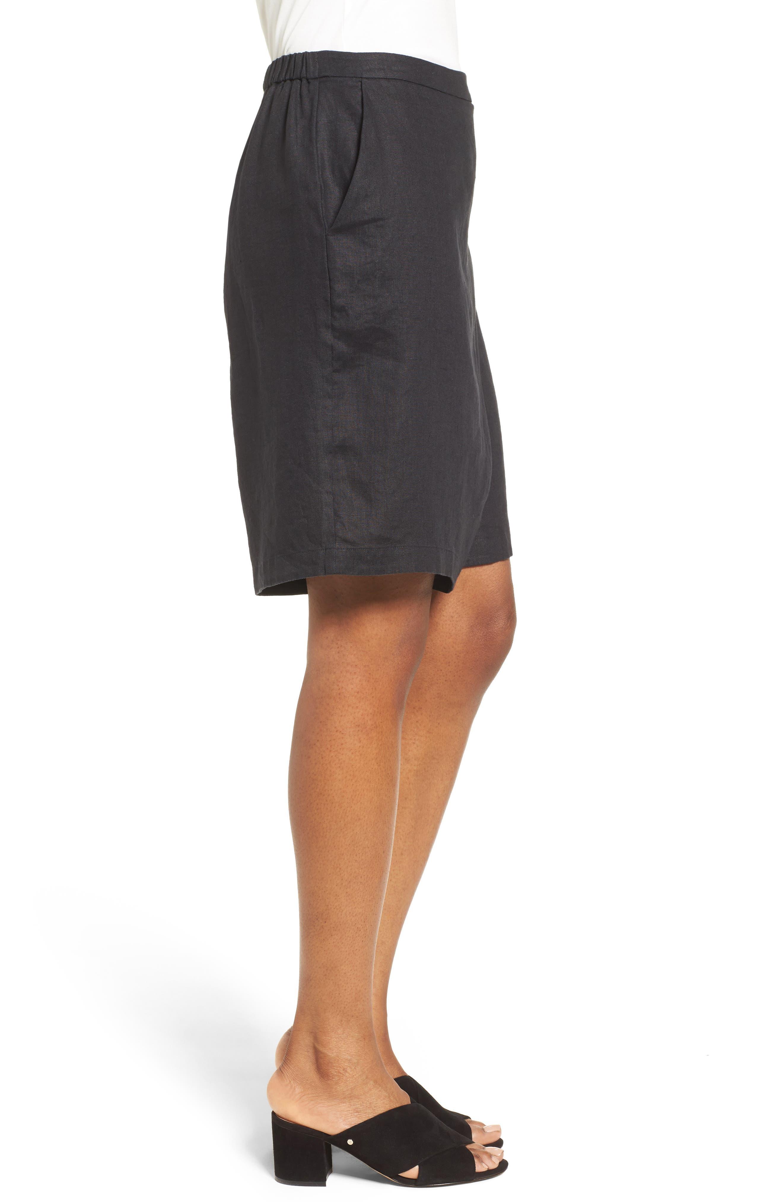 Organic Linen Sarong Shorts,                             Alternate thumbnail 3, color,                             001