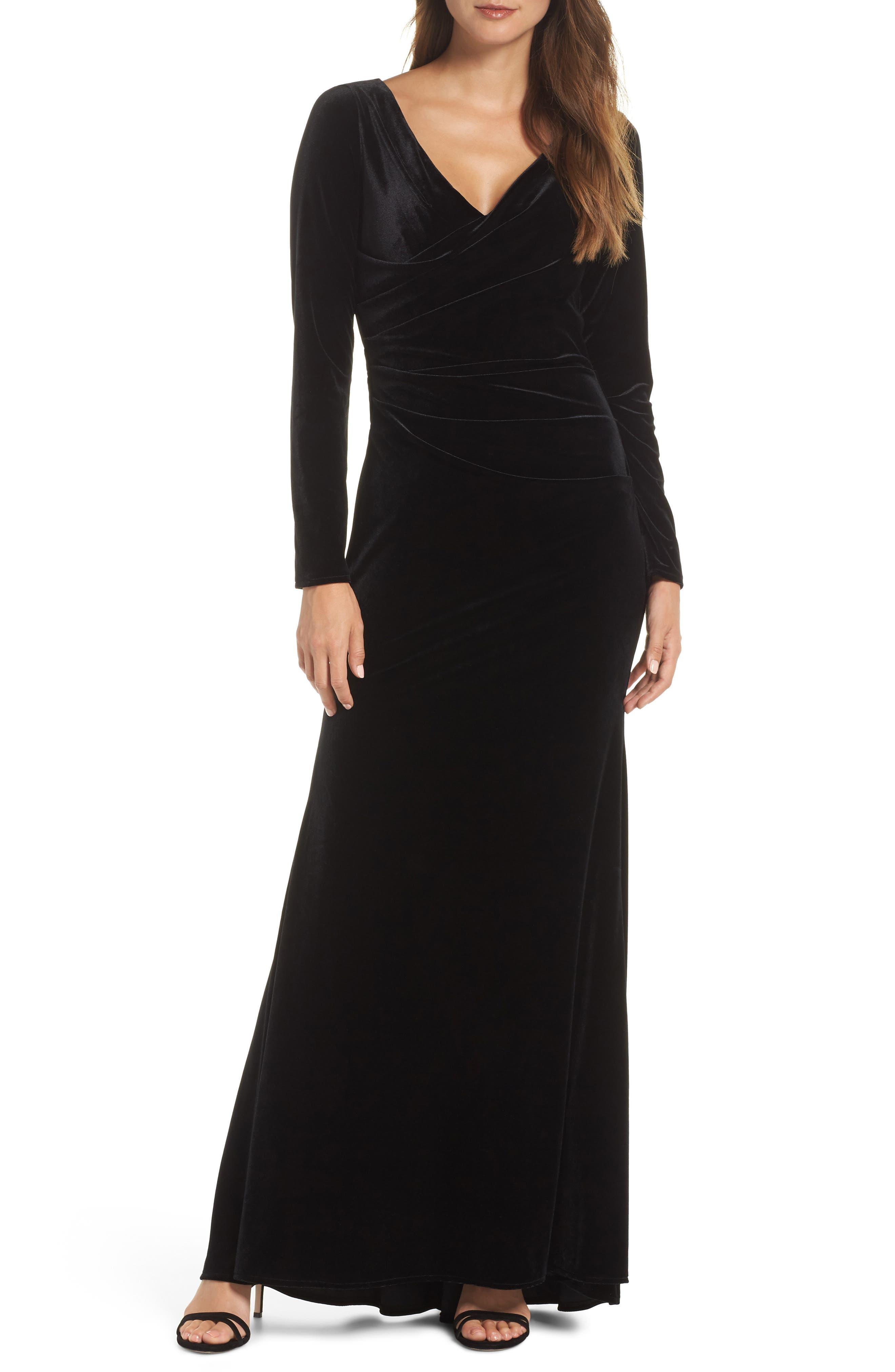 Velvet Gown,                         Main,                         color, BLACK