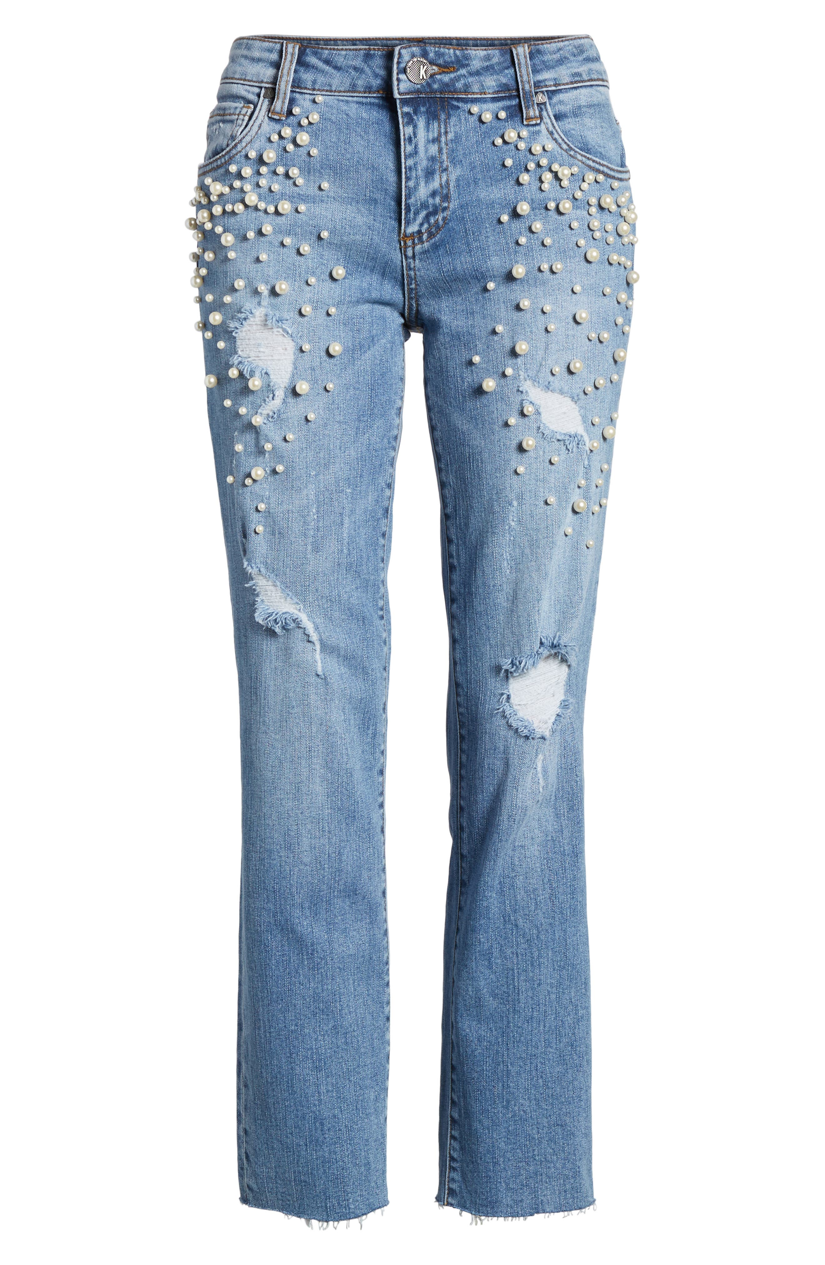 Reese Pearl Detail Raw Edge Jeans,                             Alternate thumbnail 6, color,                             439