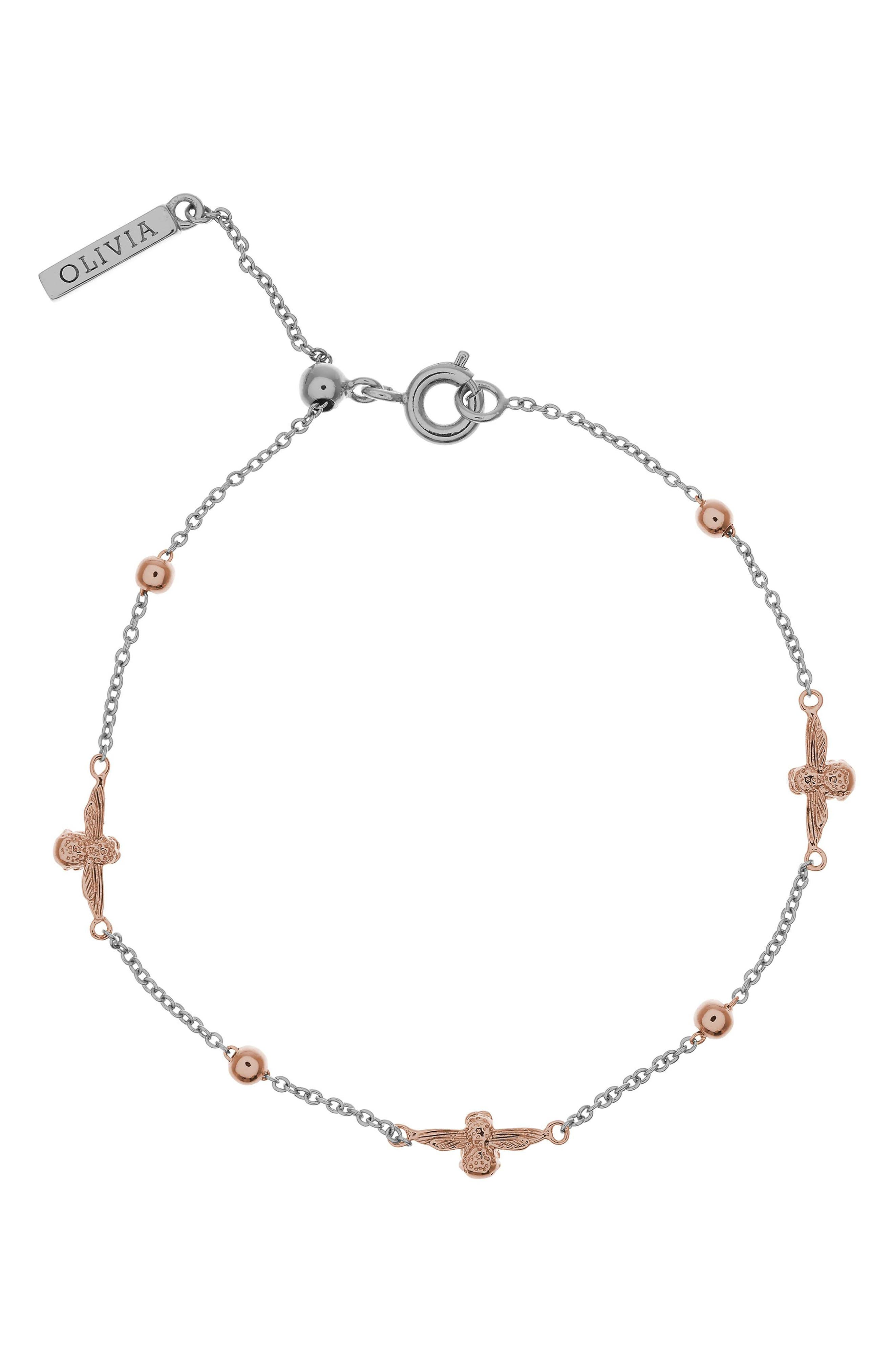 Queen Bee Ball Chain Bracelet,                         Main,                         color, SILVER/ ROSE GOLD