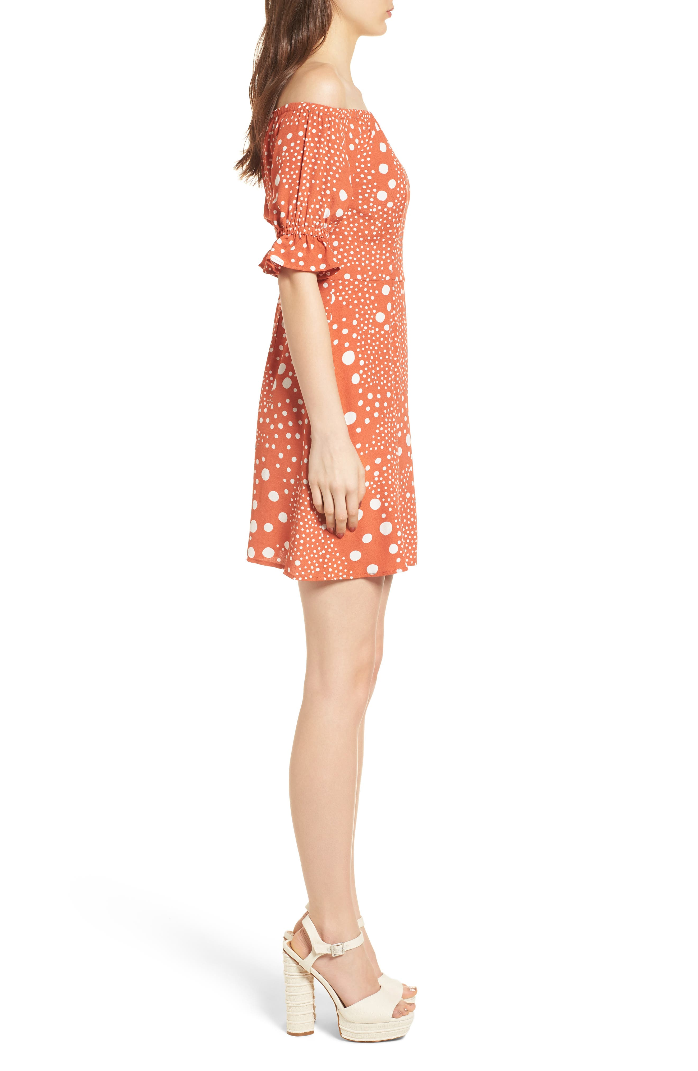 Peppers Polka Dot Off the Shoulder Dress,                             Alternate thumbnail 3, color,                             RUST PEBBLE