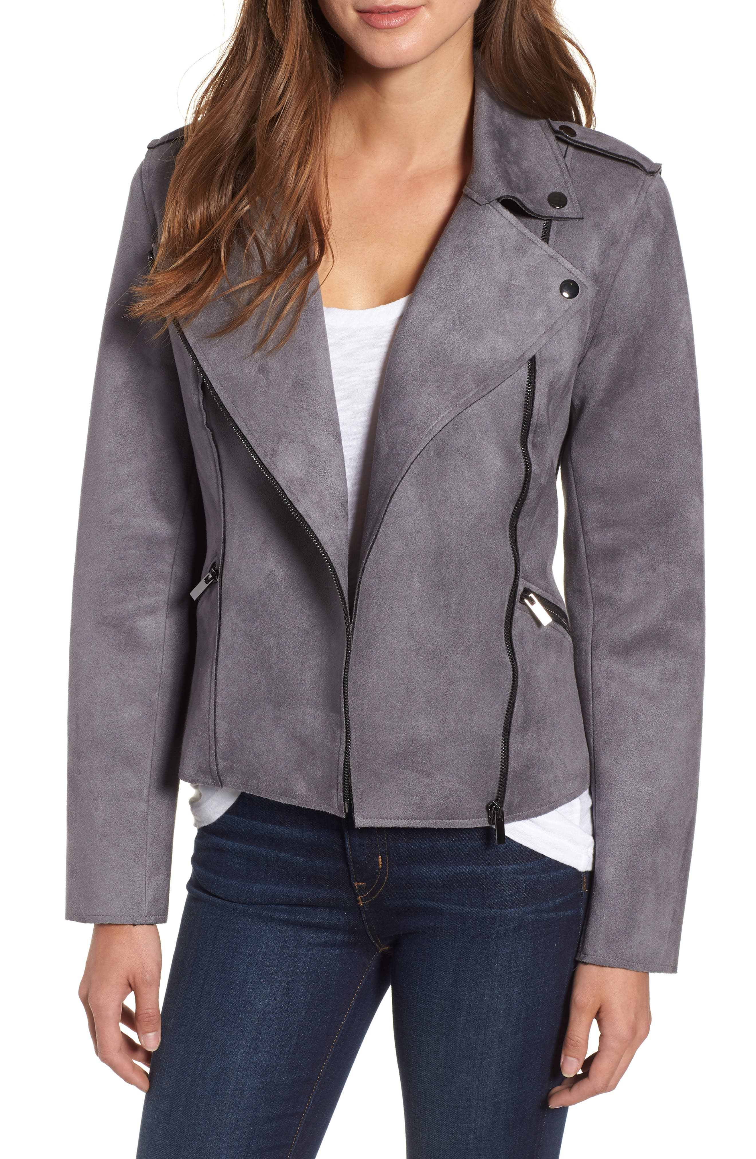 KUT FROM THE KLOTH Haddie Faux Suede Moto Jacket, Main, color, 026