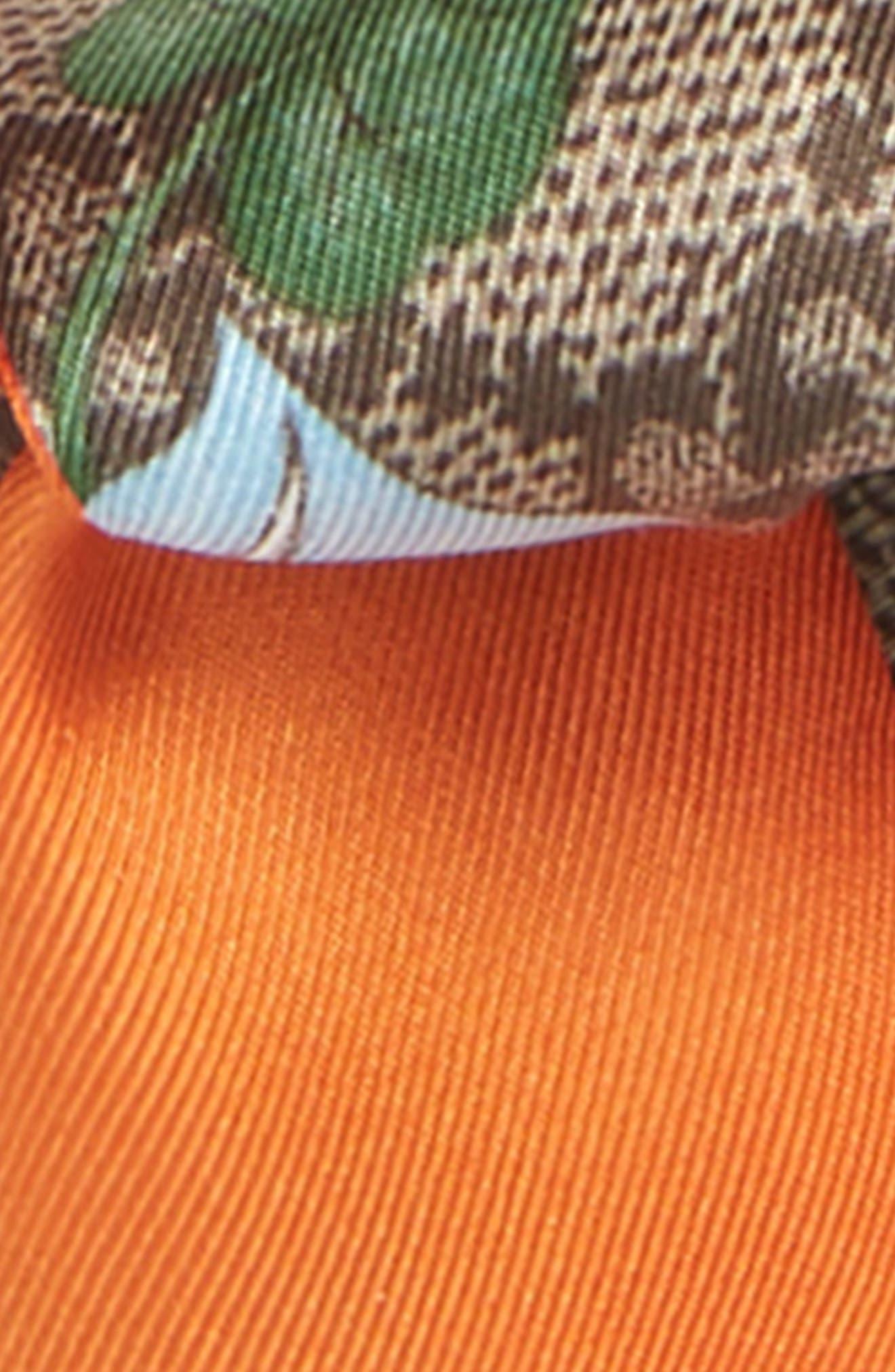 Flora Fluorescent Silk Neck Bow,                             Alternate thumbnail 3, color,                             ORANGE