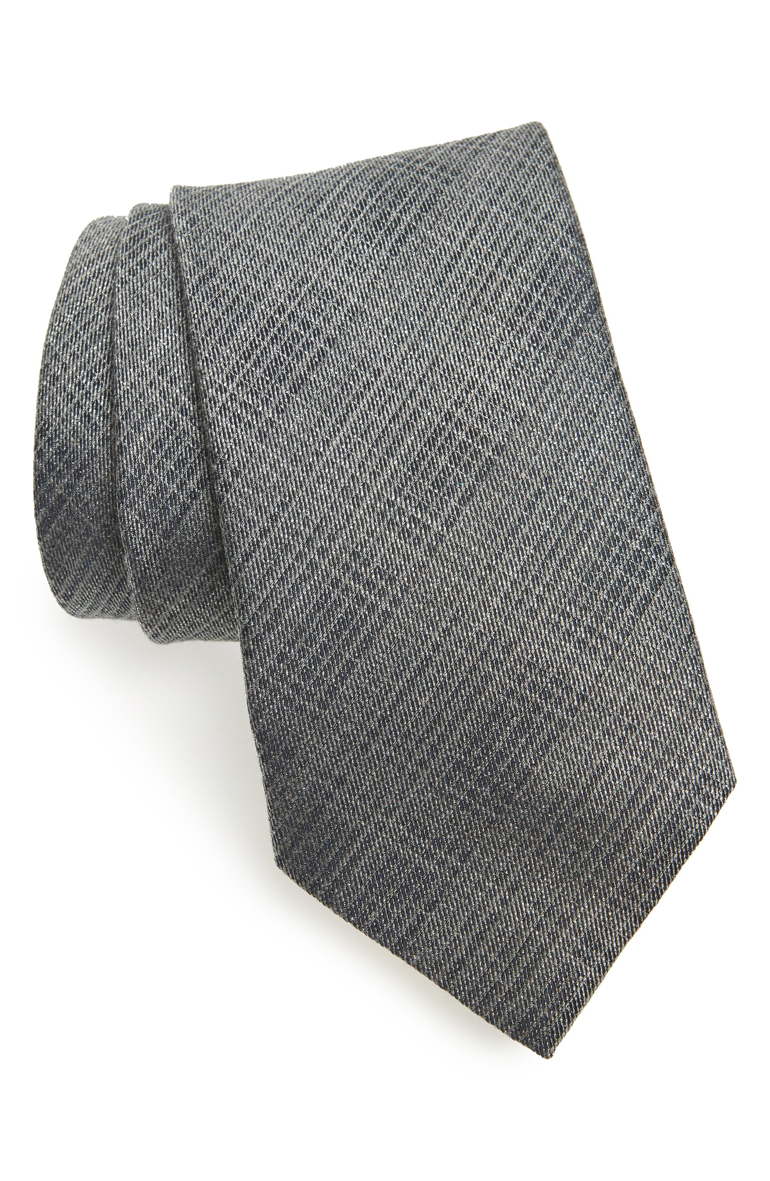 Crosshatch Tie,                         Main,                         color, SILVER GREY