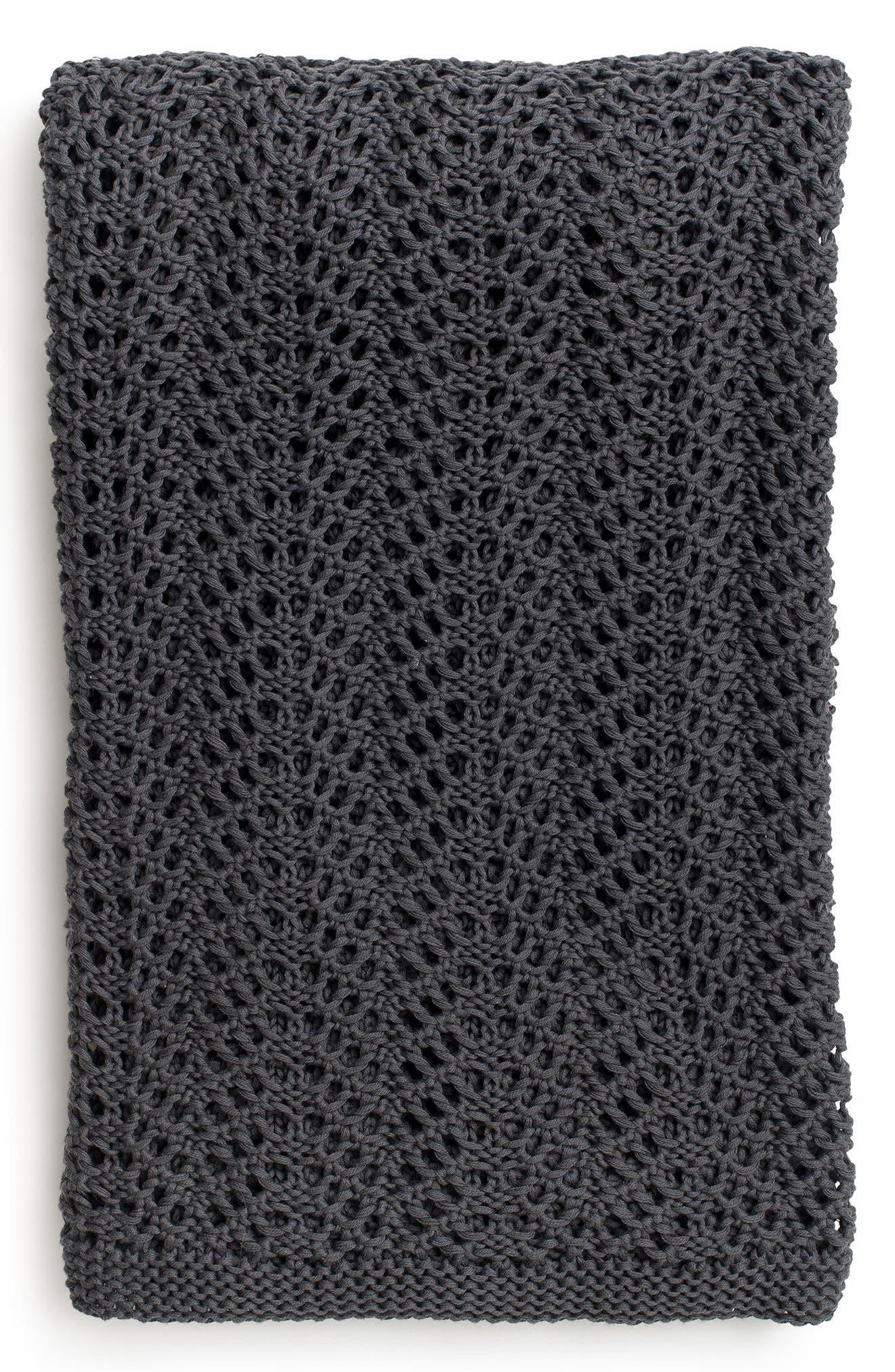 Organic Cotton Boho Knit Throw,                         Main,                         color, 010