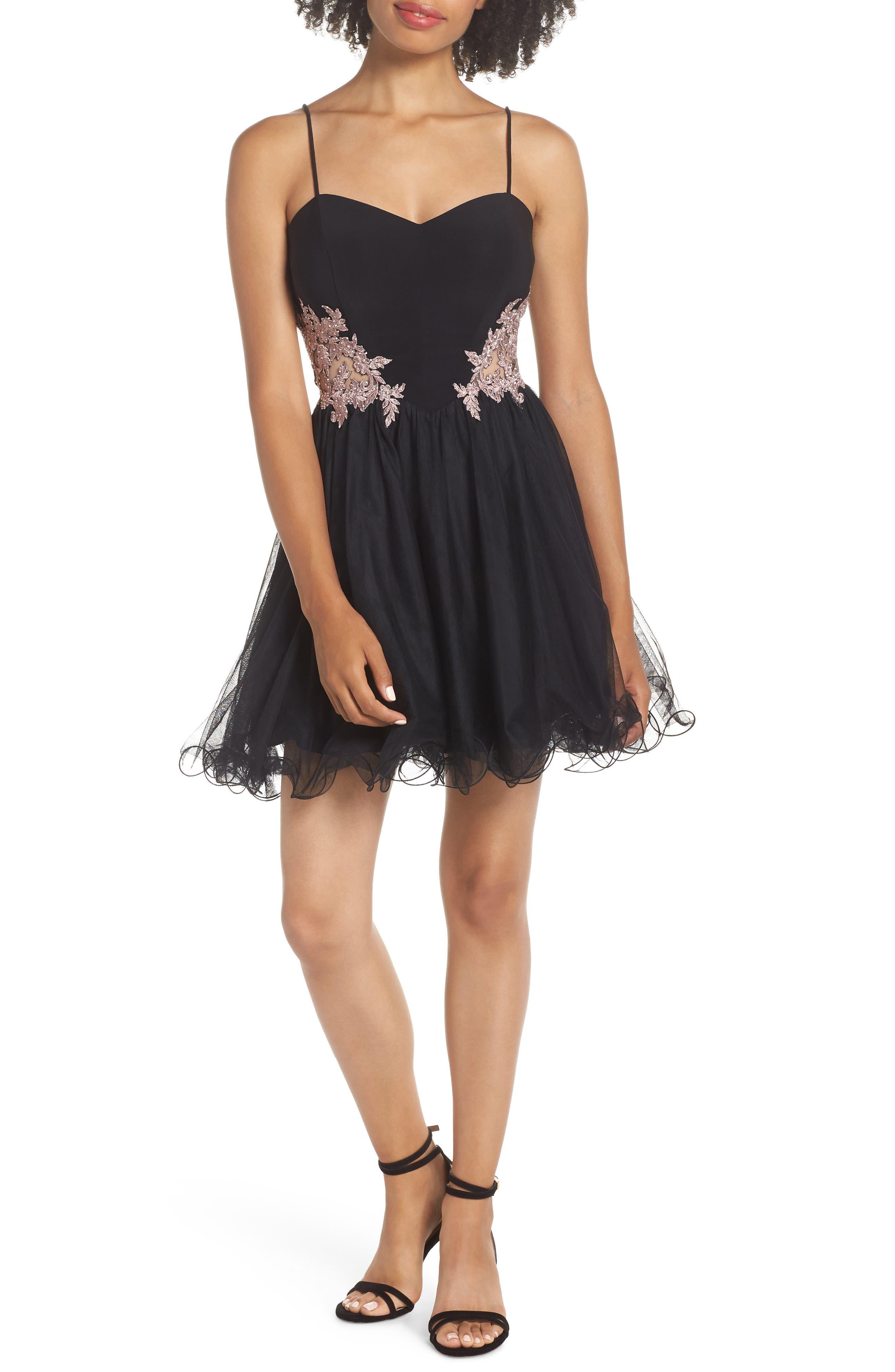 Appliqué Sweetheart Fit & Flare Dress, Main, color, BLACK/ ROSE