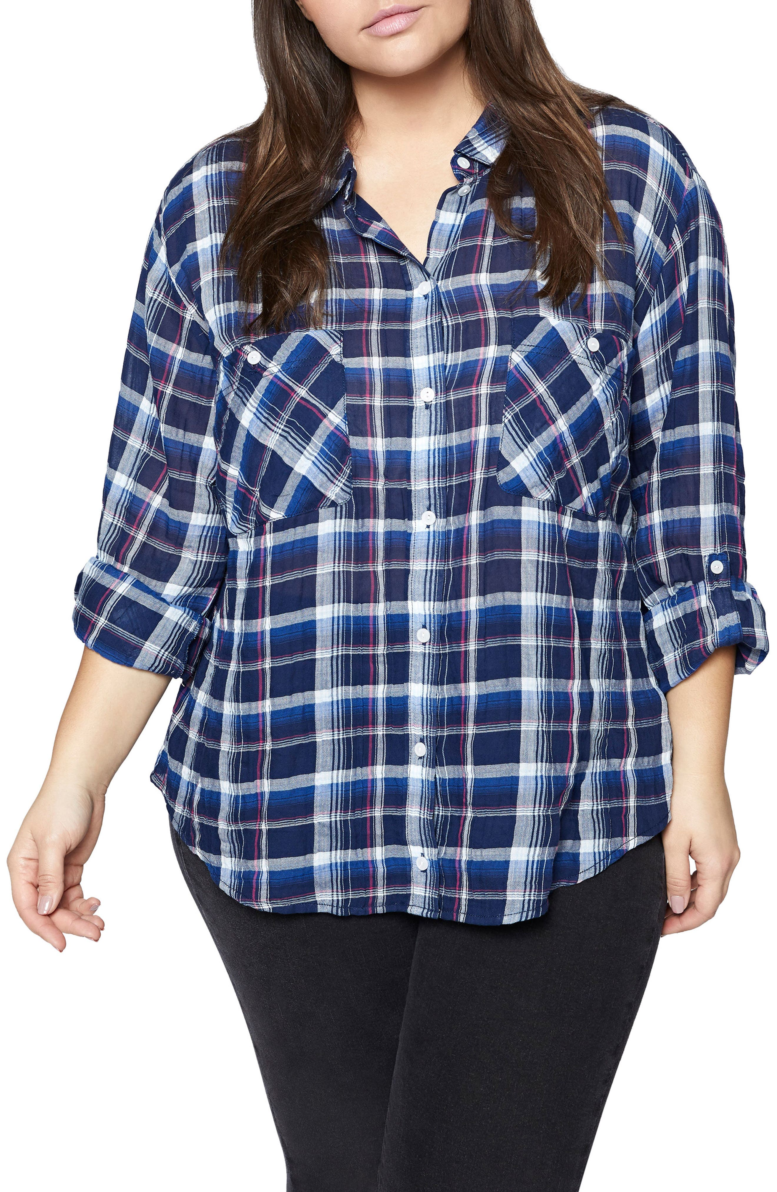 Steady Boyfriend Plaid Shirt,                             Main thumbnail 1, color,                             491