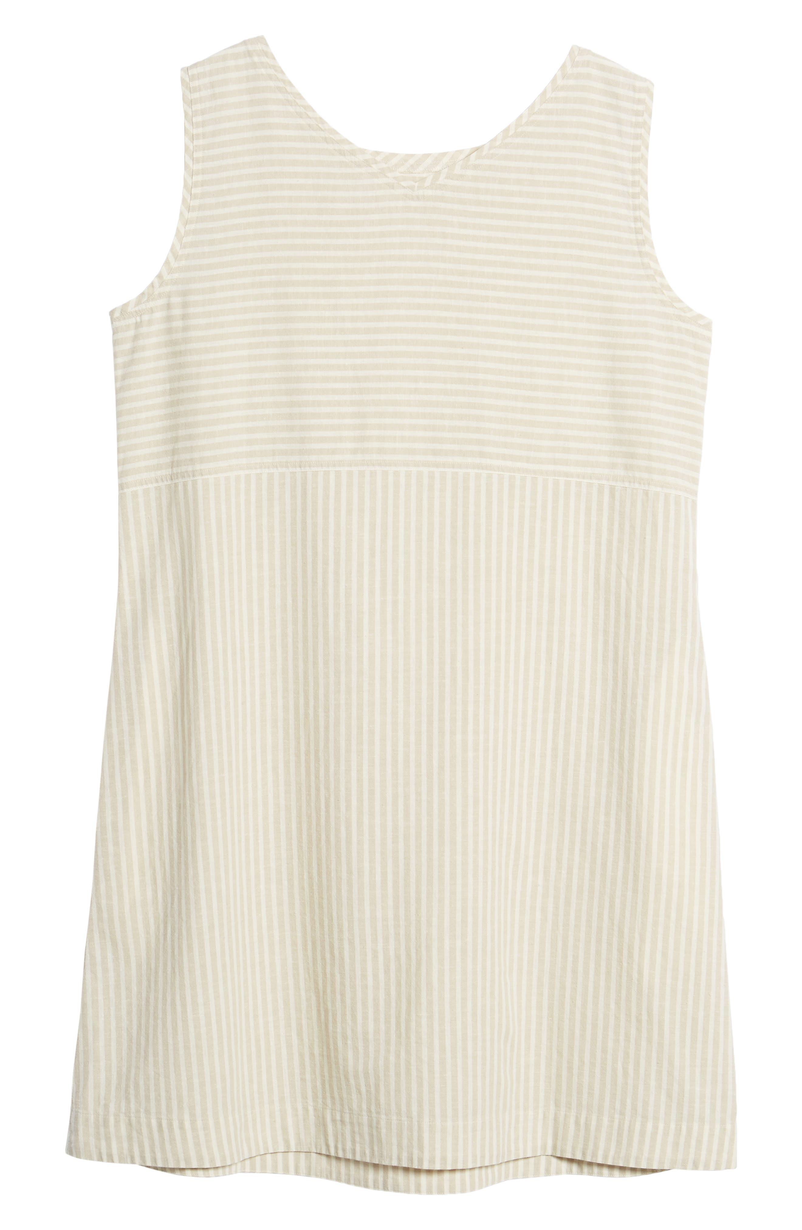 Varied Stripe Hemp & Organic Cotton Shift Dress,                             Alternate thumbnail 7, color,                             257
