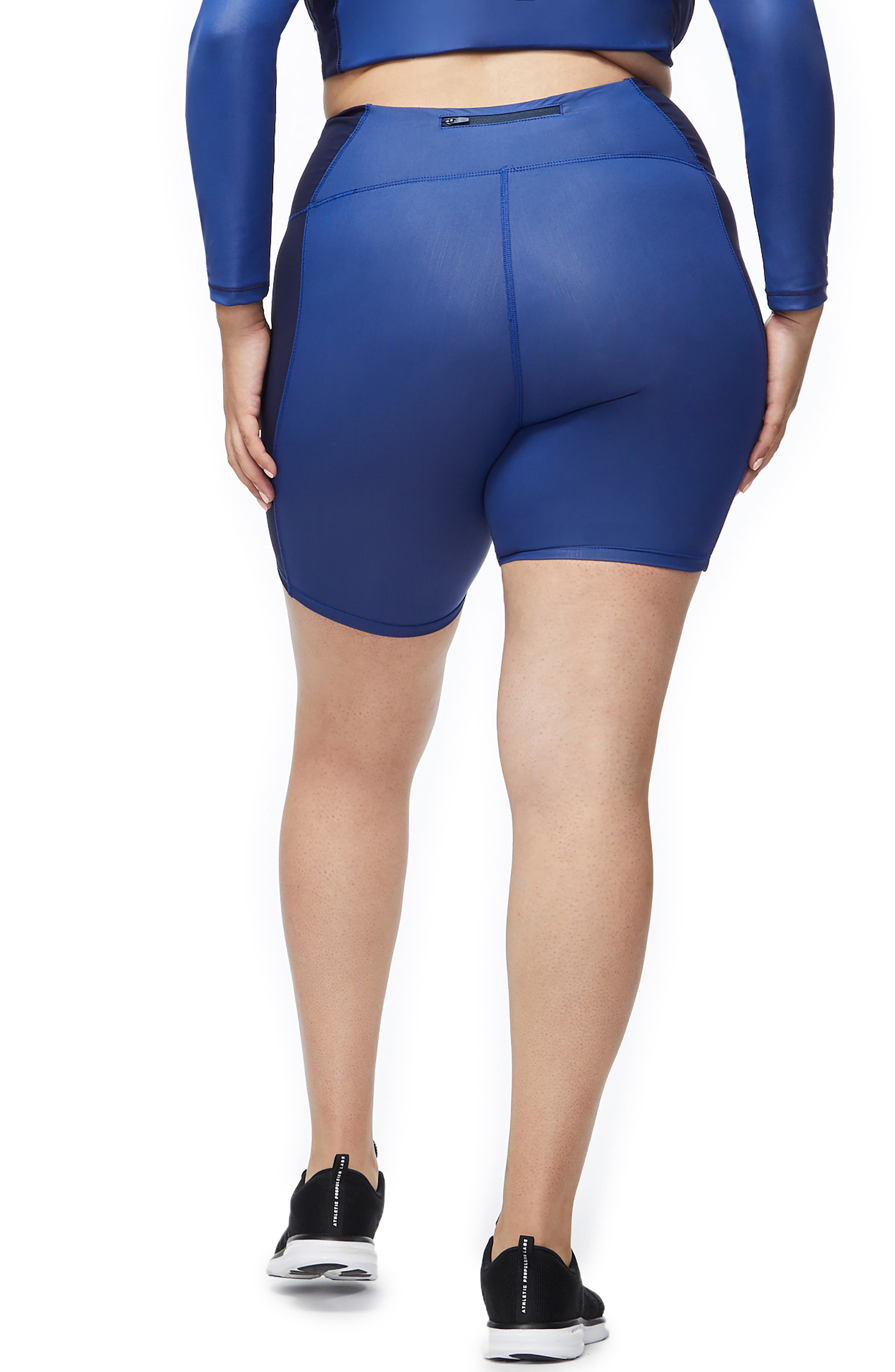 High Waist Biker Shorts,                             Alternate thumbnail 5, color,                             BLUE001