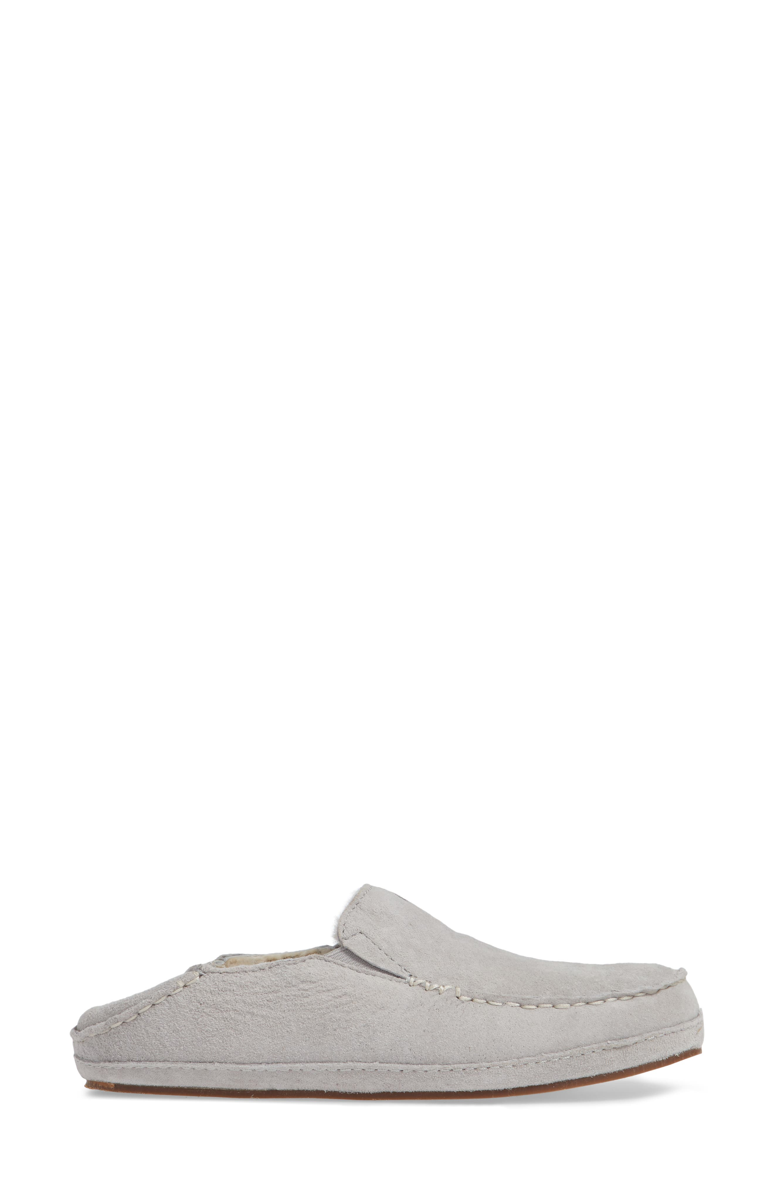 Nohea Nubuck Slipper,                             Alternate thumbnail 4, color,                             PALE GREY/ PALE GREY LEATHER