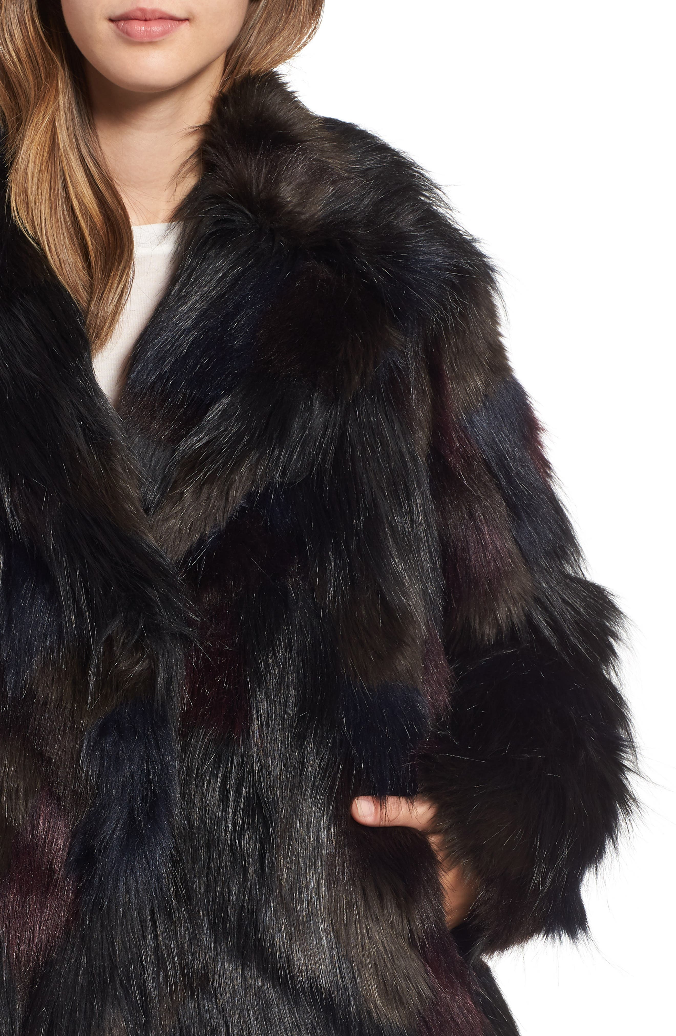 Multicolored Faux Fur Jacket,                             Alternate thumbnail 4, color,                             MULTI