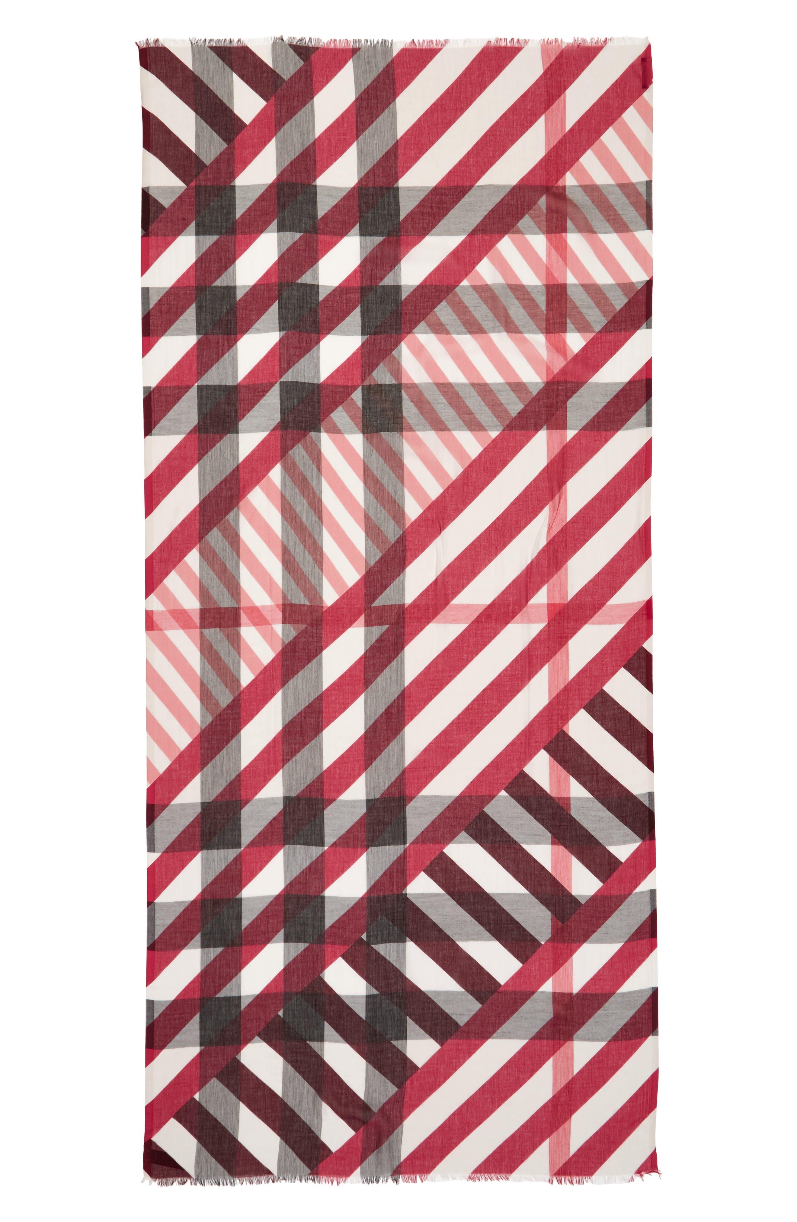 Stripe & Check Scarf,                             Alternate thumbnail 4, color,