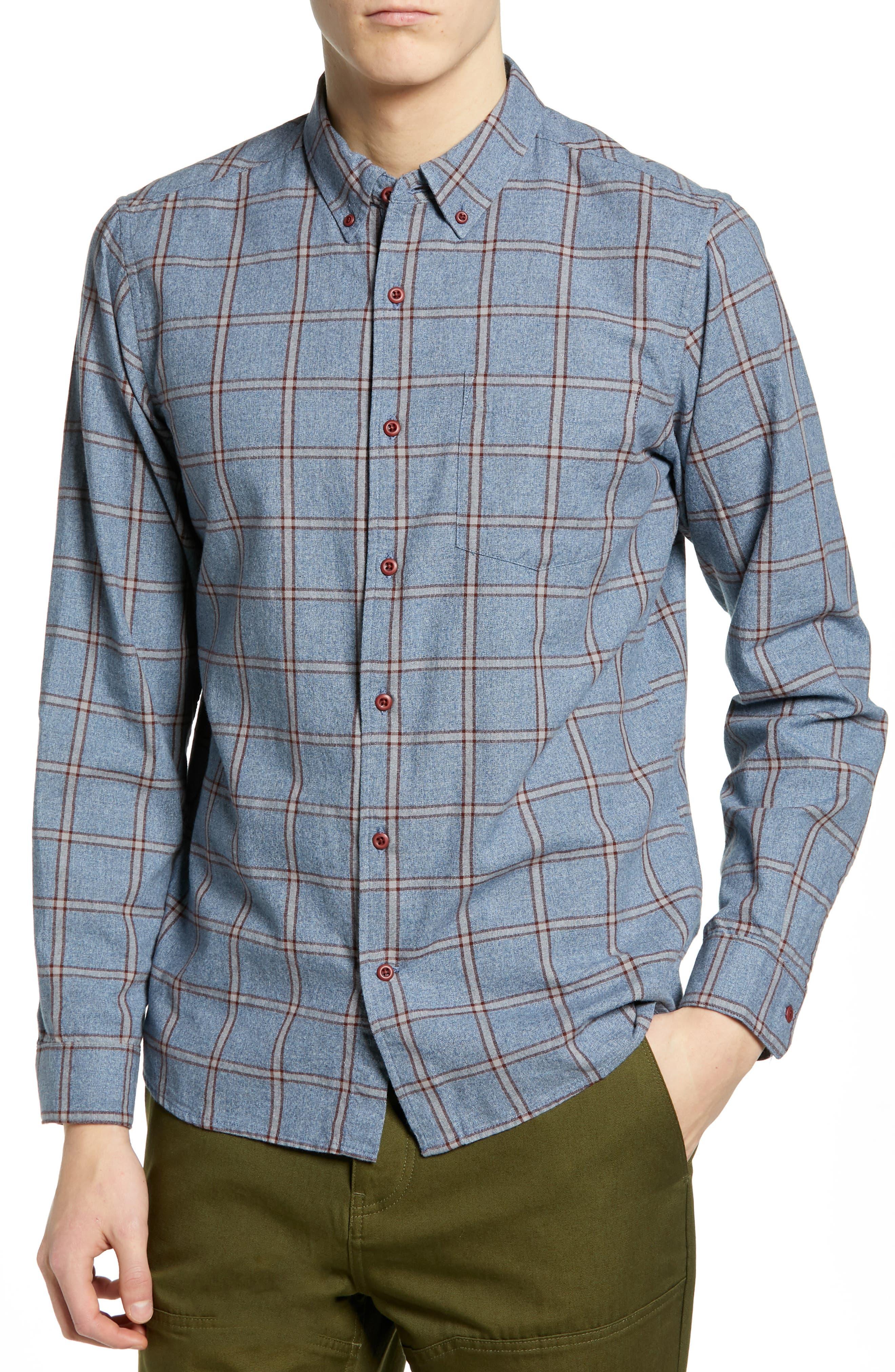 Hurley Towns Plaid Sport Shirt, Blue/green