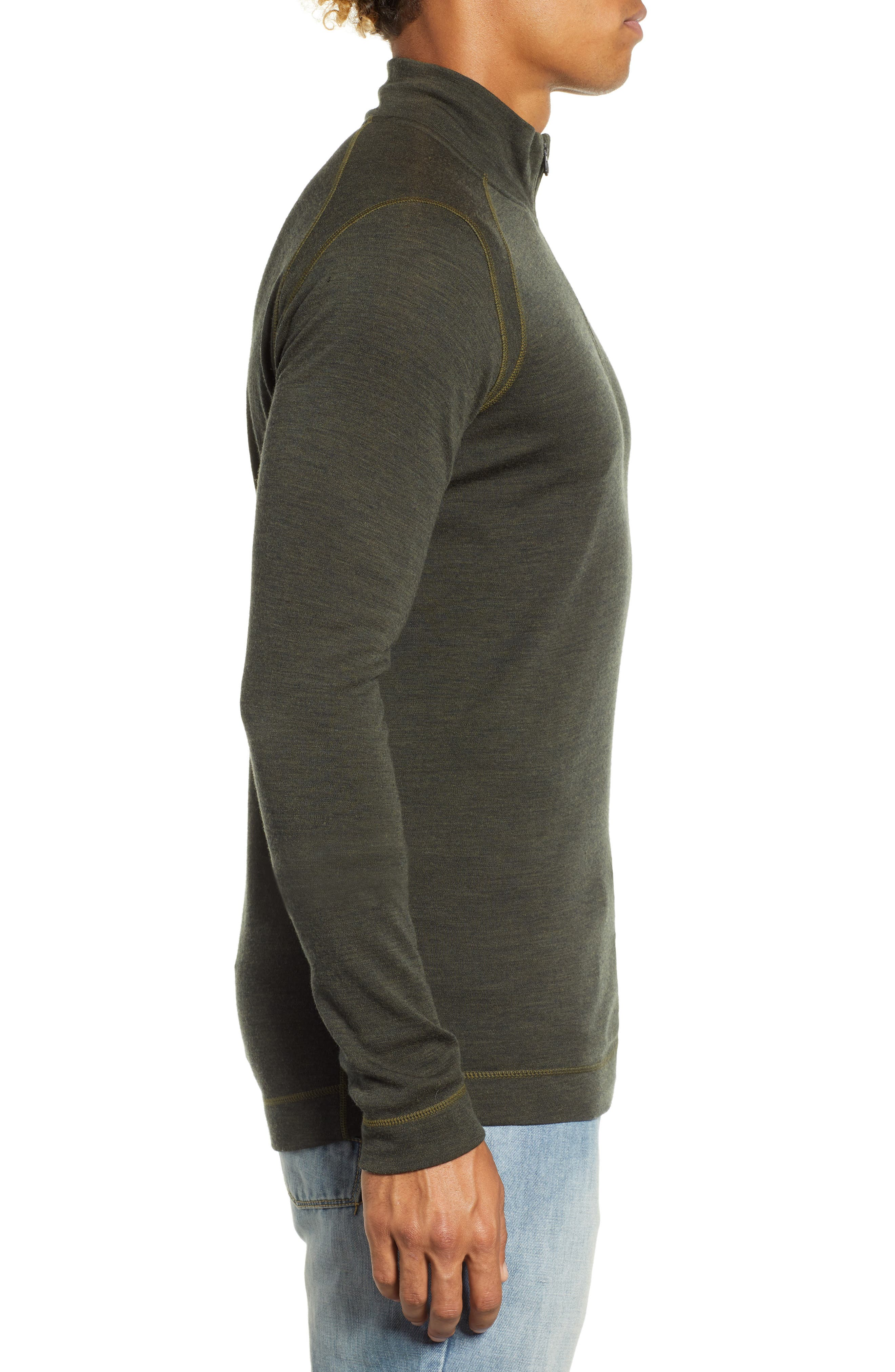 Merino 250 Base Layer Quarter Zip Pullover,                             Alternate thumbnail 3, color,                             OLIVE HEATHER