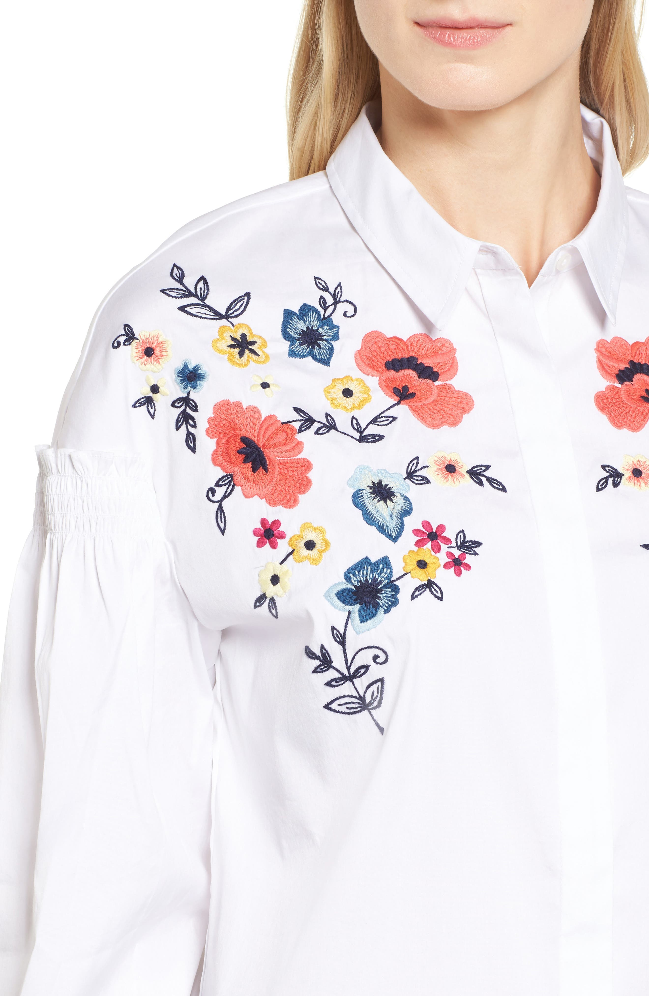 Embroidered Button Down Shirt,                             Alternate thumbnail 4, color,                             100