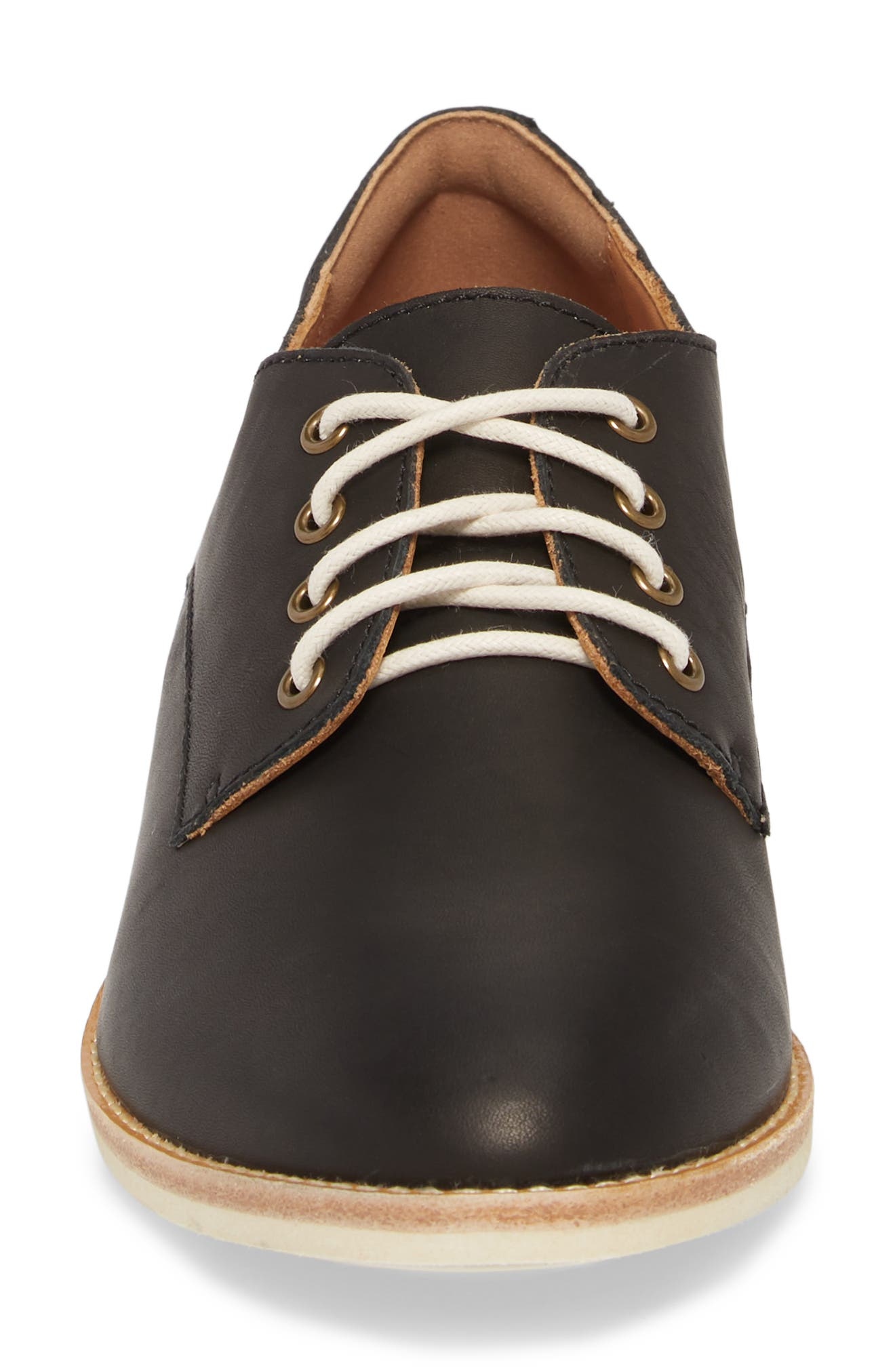 ROLLIE,                             Derby Oxford,                             Alternate thumbnail 4, color,                             BLACK LEATHER
