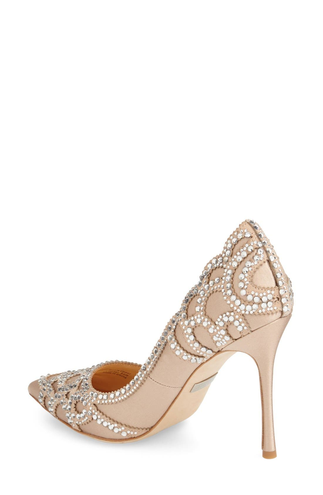 Badgley Mischka 'Rouge' Pointy Toe Pump,                             Alternate thumbnail 3, color,                             LATTE SATIN