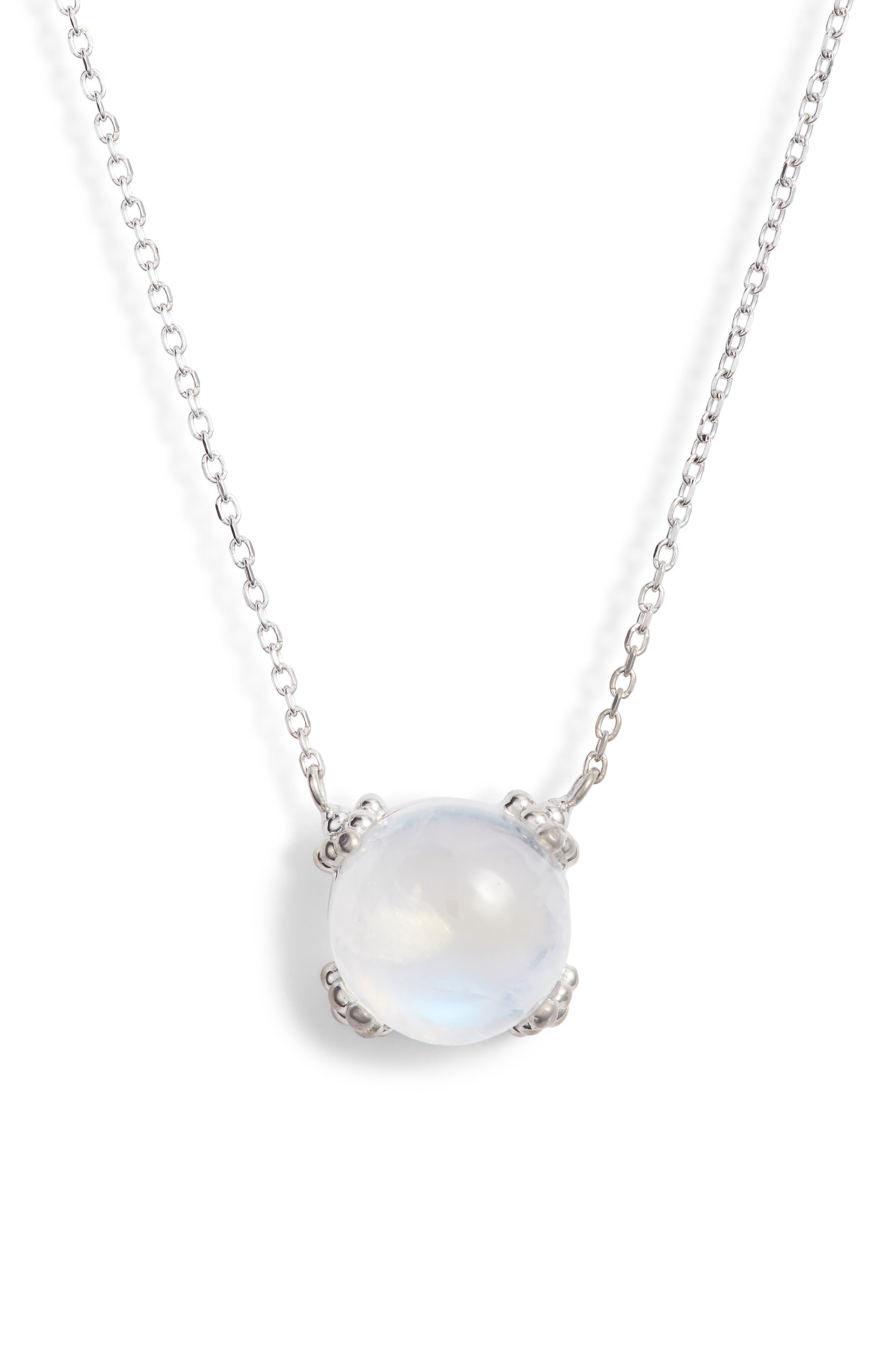 Dew Drop Cluster Moonstone Pendant Necklace,                         Main,                         color, SILVER