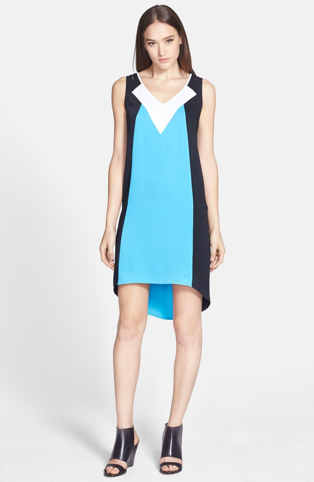 TROUVÉ Colorblock High/Low Shift Dress, Main, color, 420