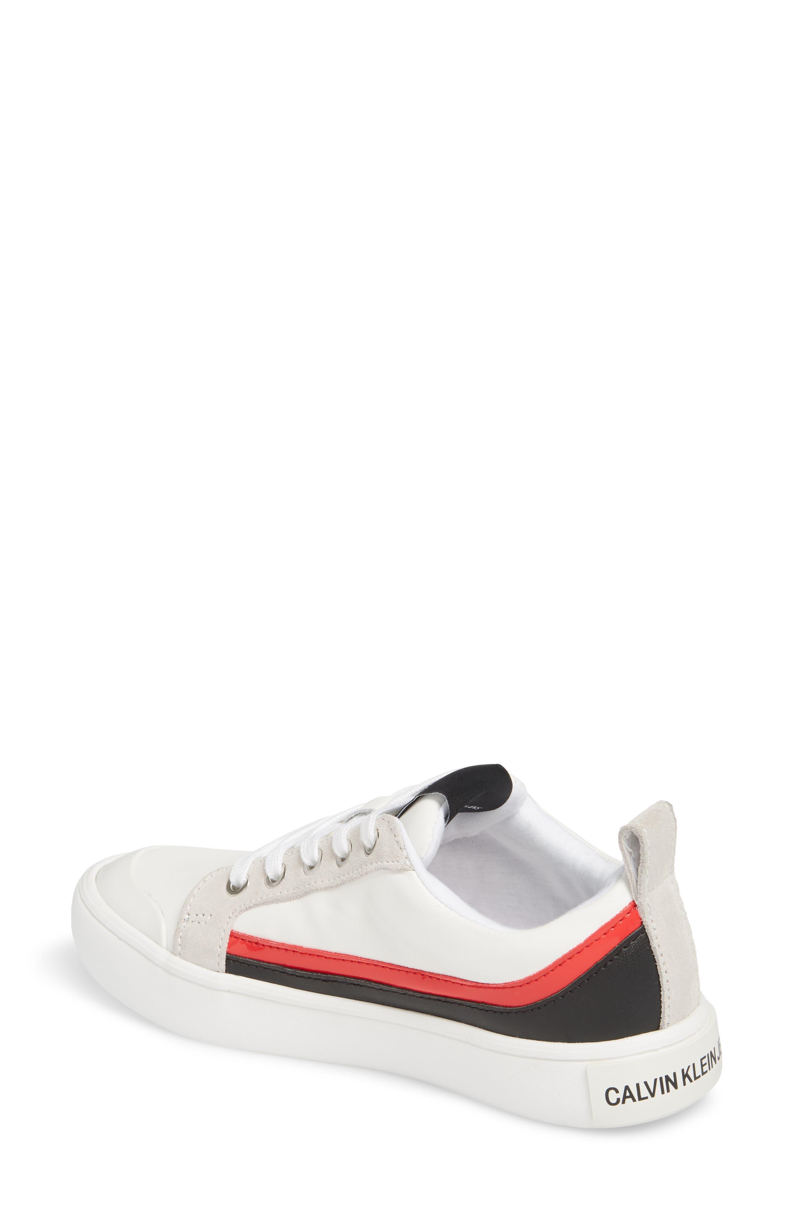 Dodie Sneaker,                             Alternate thumbnail 2, color,                             WHITE/ BLACK/ TOMATO