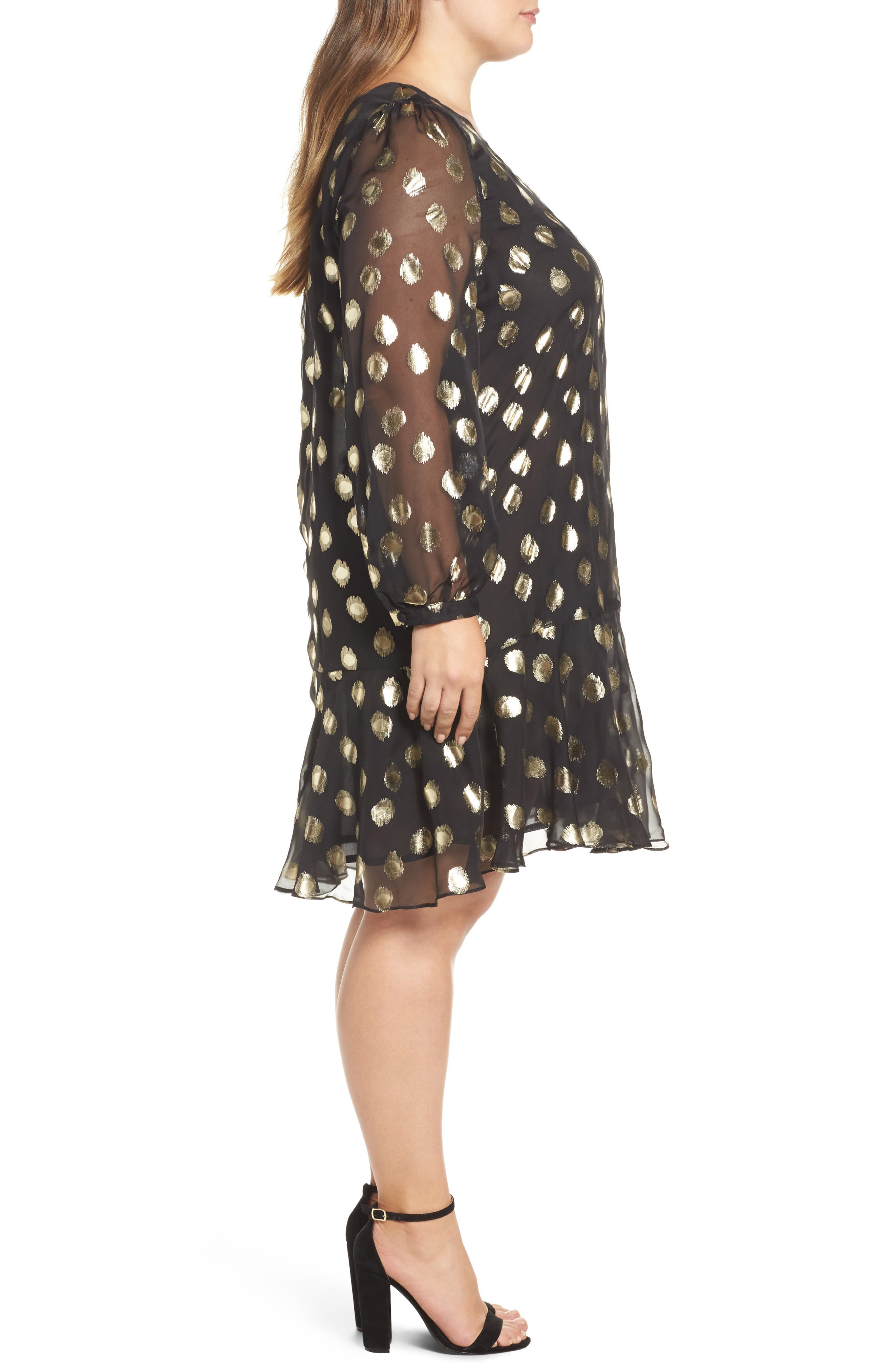 Metallic Dot Drop Waist Dress,                             Alternate thumbnail 3, color,                             010