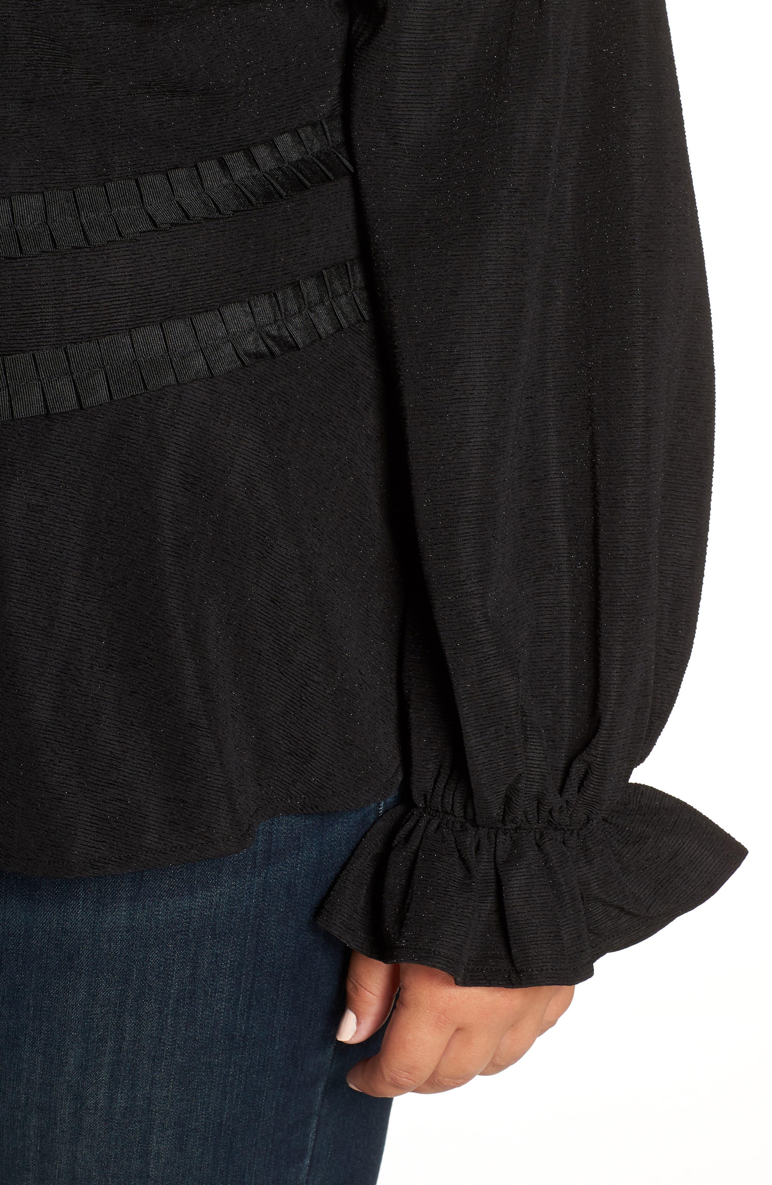 Cold Shoulder Top,                             Alternate thumbnail 4, color,                             BLACK