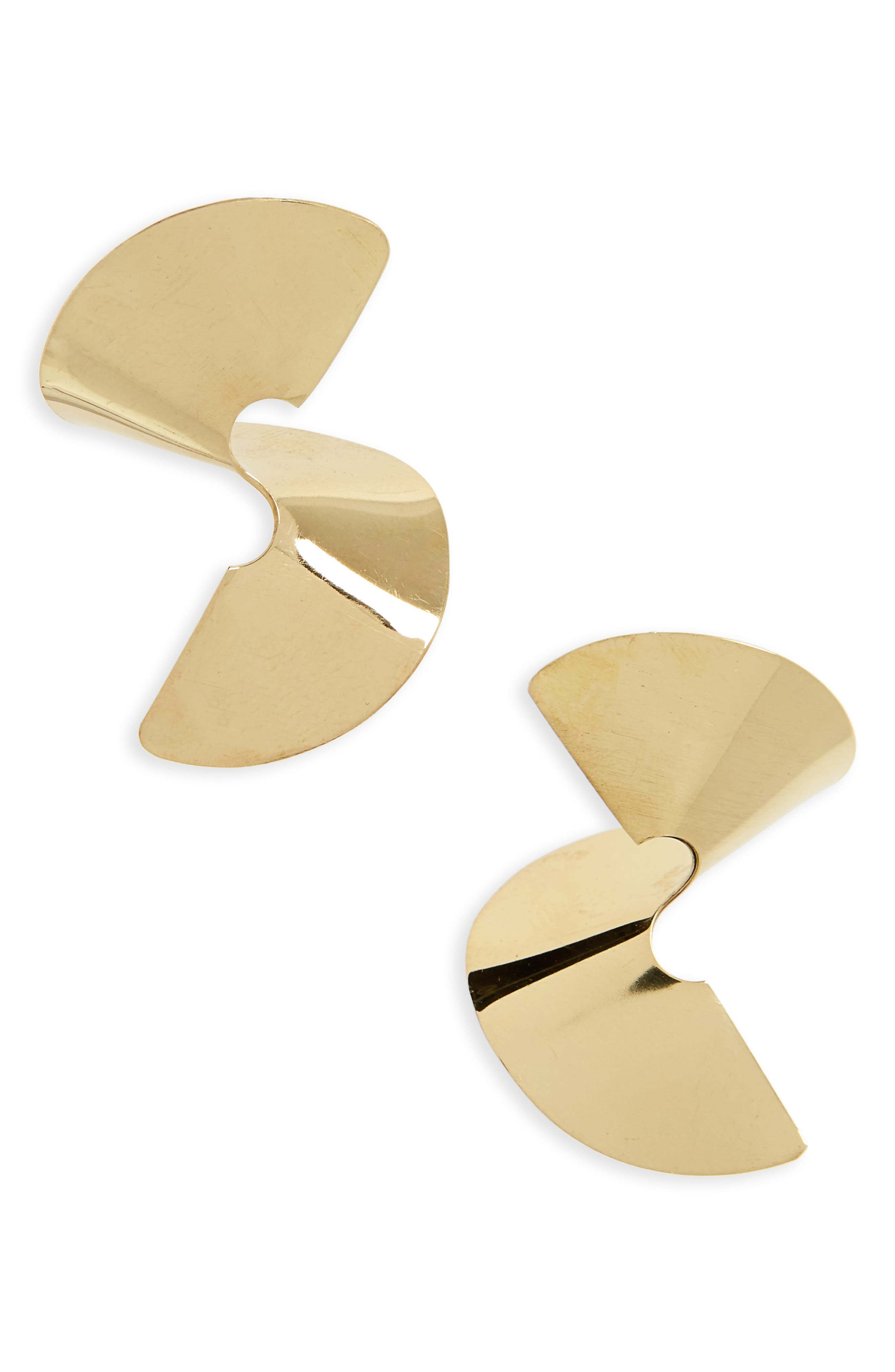 Sia Twisted Stud Earrings,                         Main,                         color, BRASS