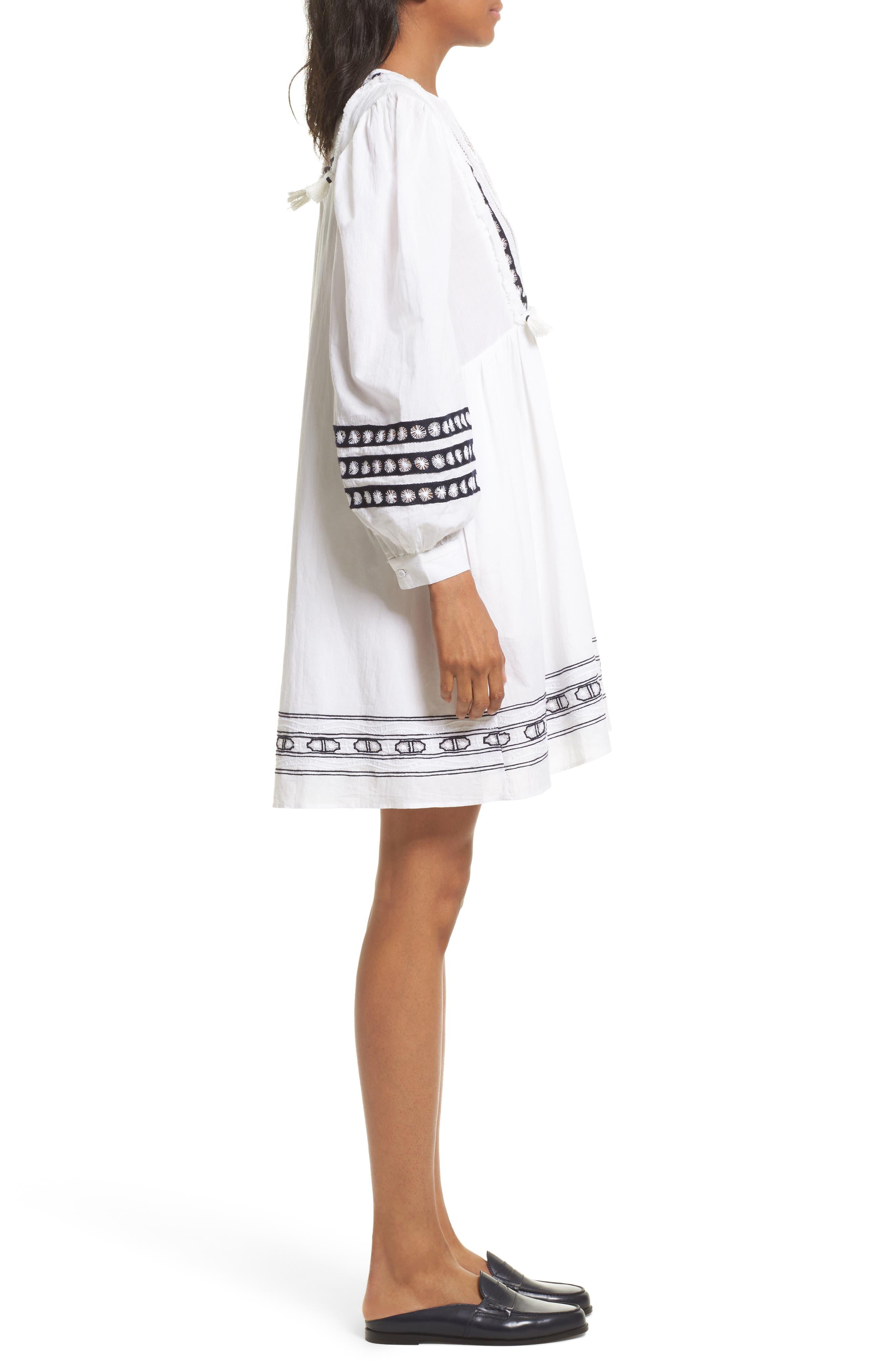 Lace Bib Dress,                             Alternate thumbnail 3, color,                             100