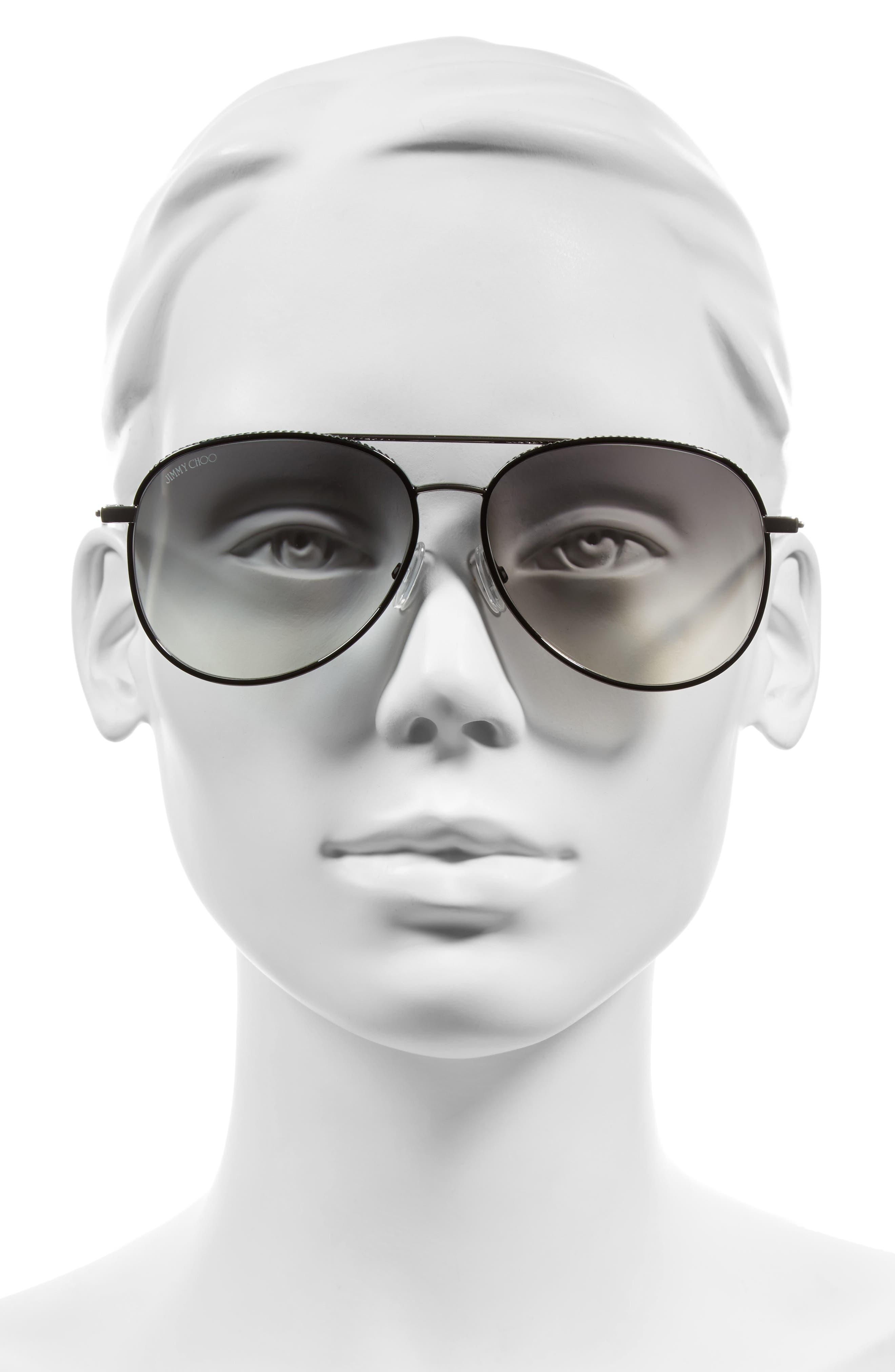 Reto 57mm Sunglasses,                             Alternate thumbnail 2, color,                             SHINY BLACK/ GREY SILVER