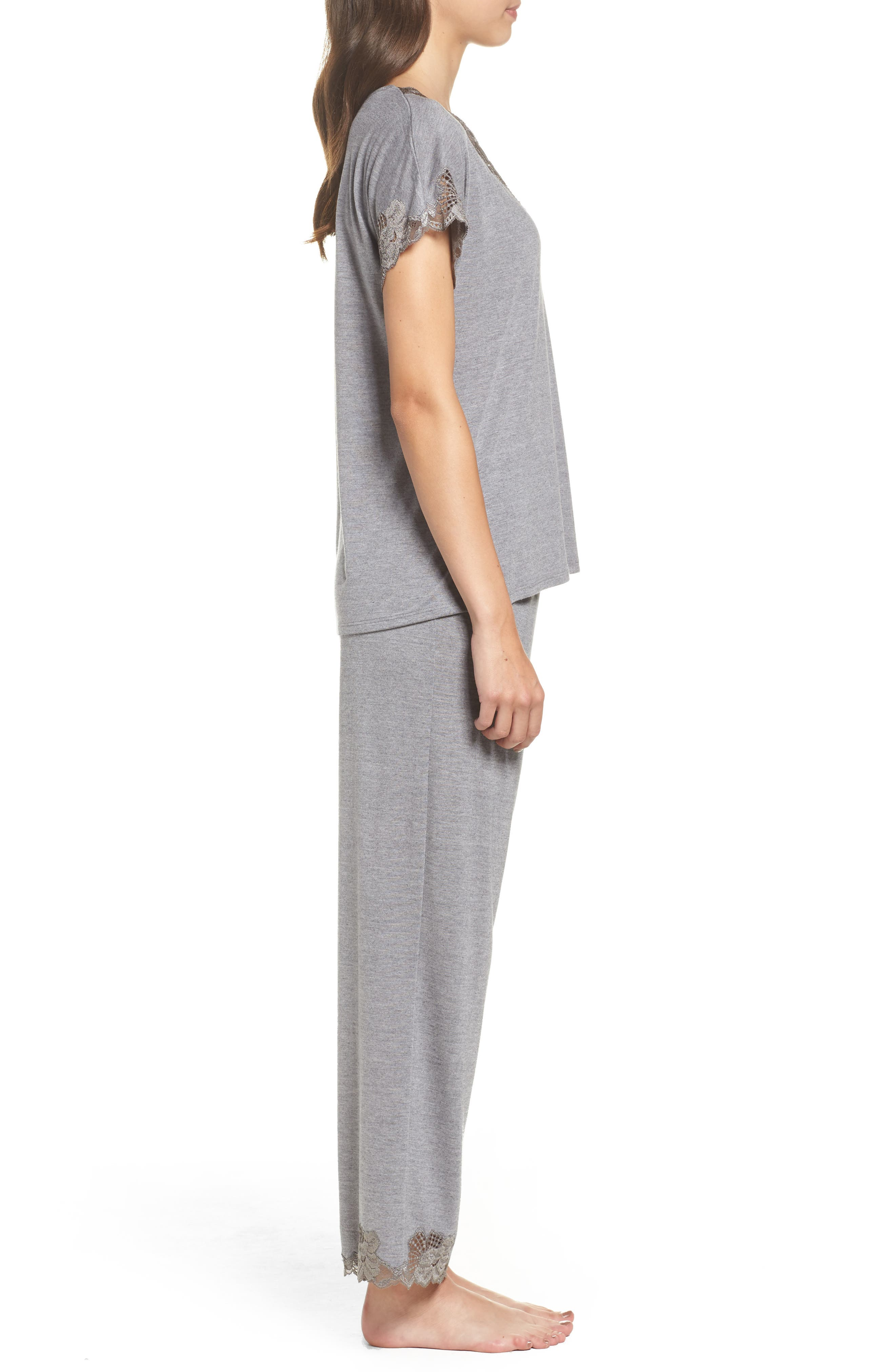 'Zen Floral' Pajama Set,                             Alternate thumbnail 3, color,                             PASTEL GREY